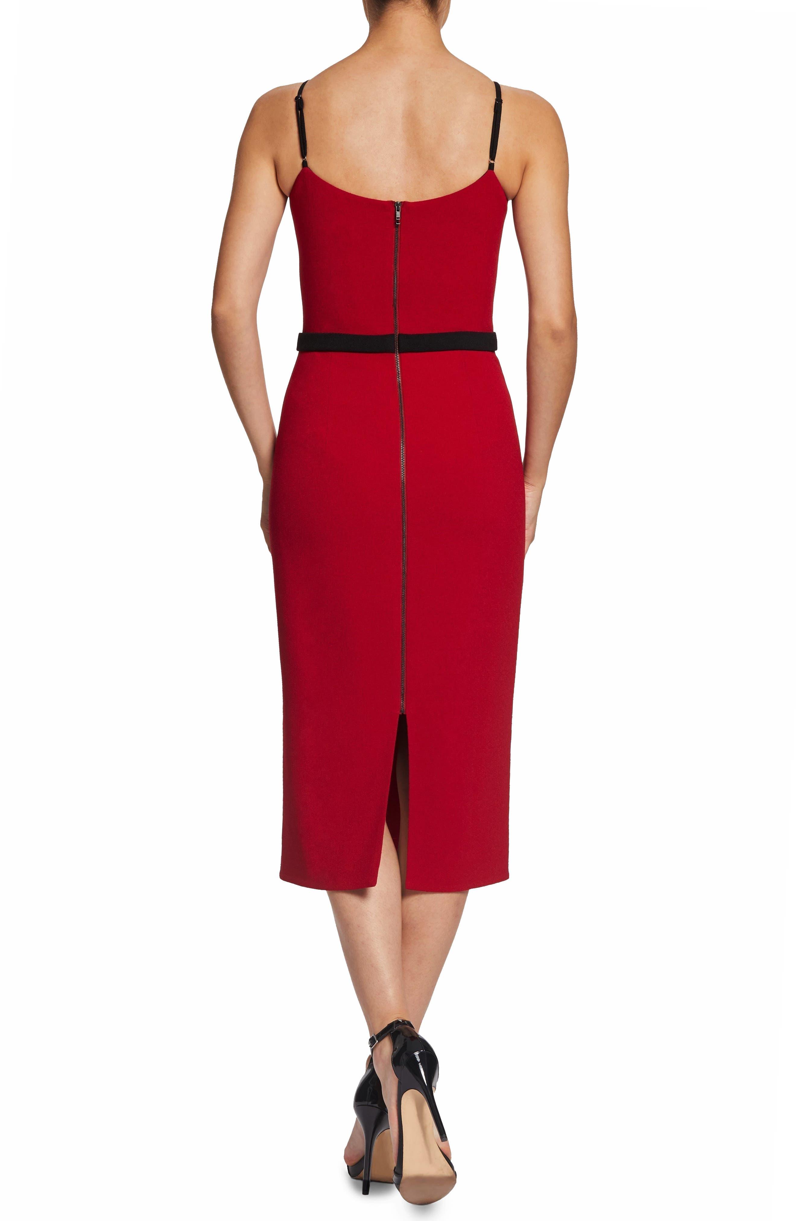 Emma Spaghetti Strap Body-Con Dress,                             Alternate thumbnail 2, color,                             GARNET
