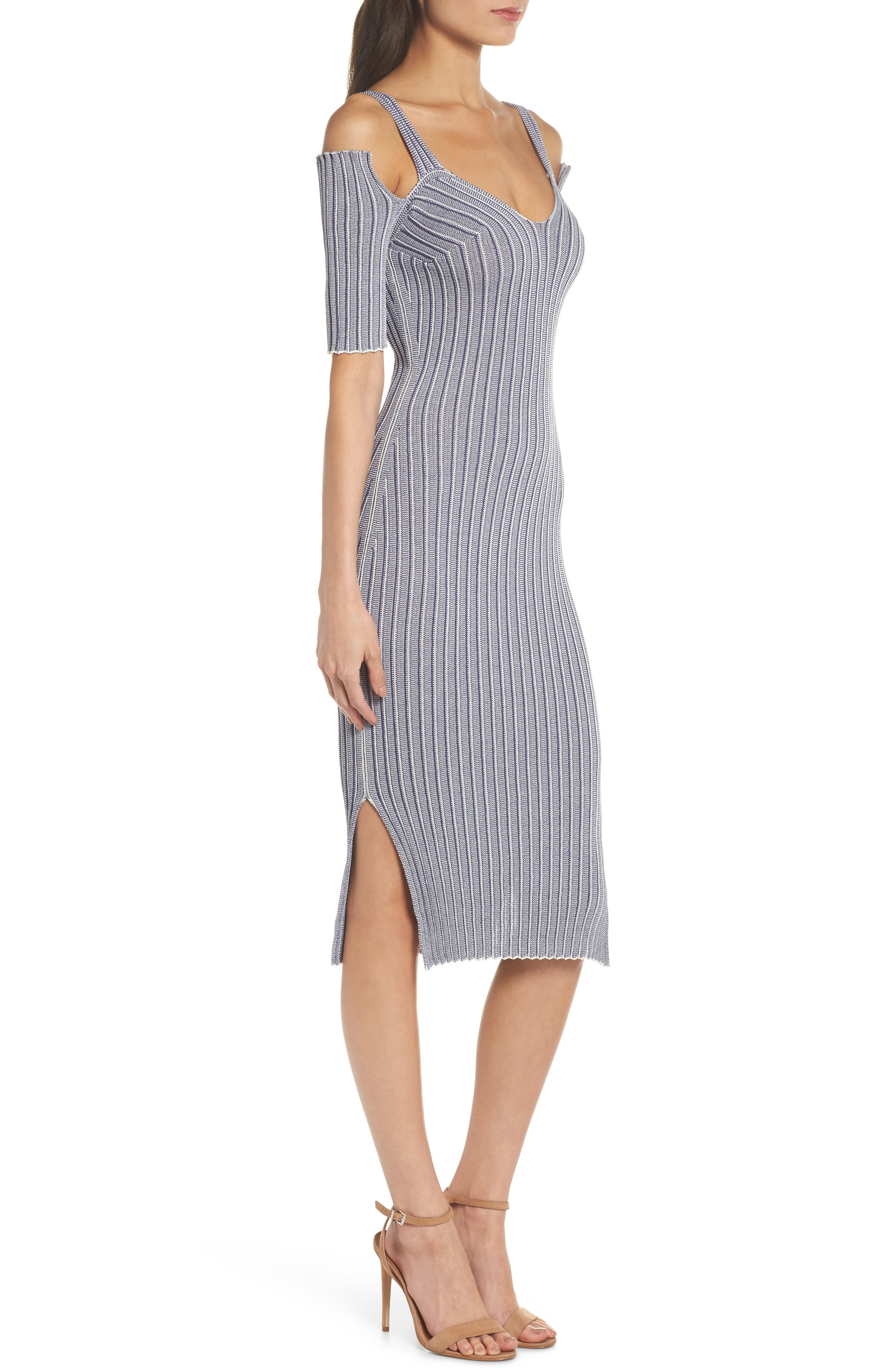 Cold Shoulder Ribbed Knit Body-Con Dress,                             Alternate thumbnail 3, color,                             020
