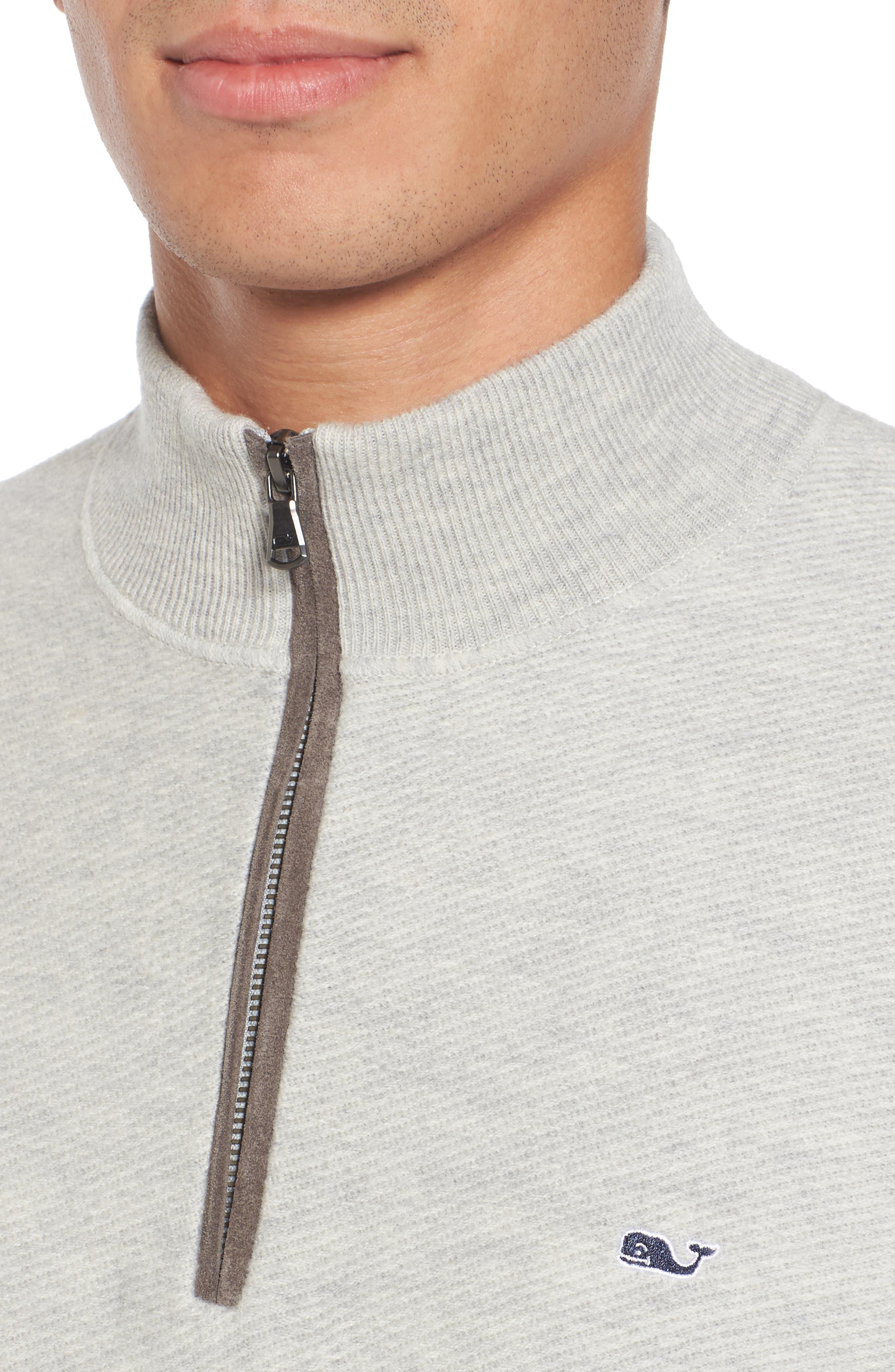 Merino Wool Twill Stitch Quarter Zip Sweater,                             Alternate thumbnail 4, color,                             039