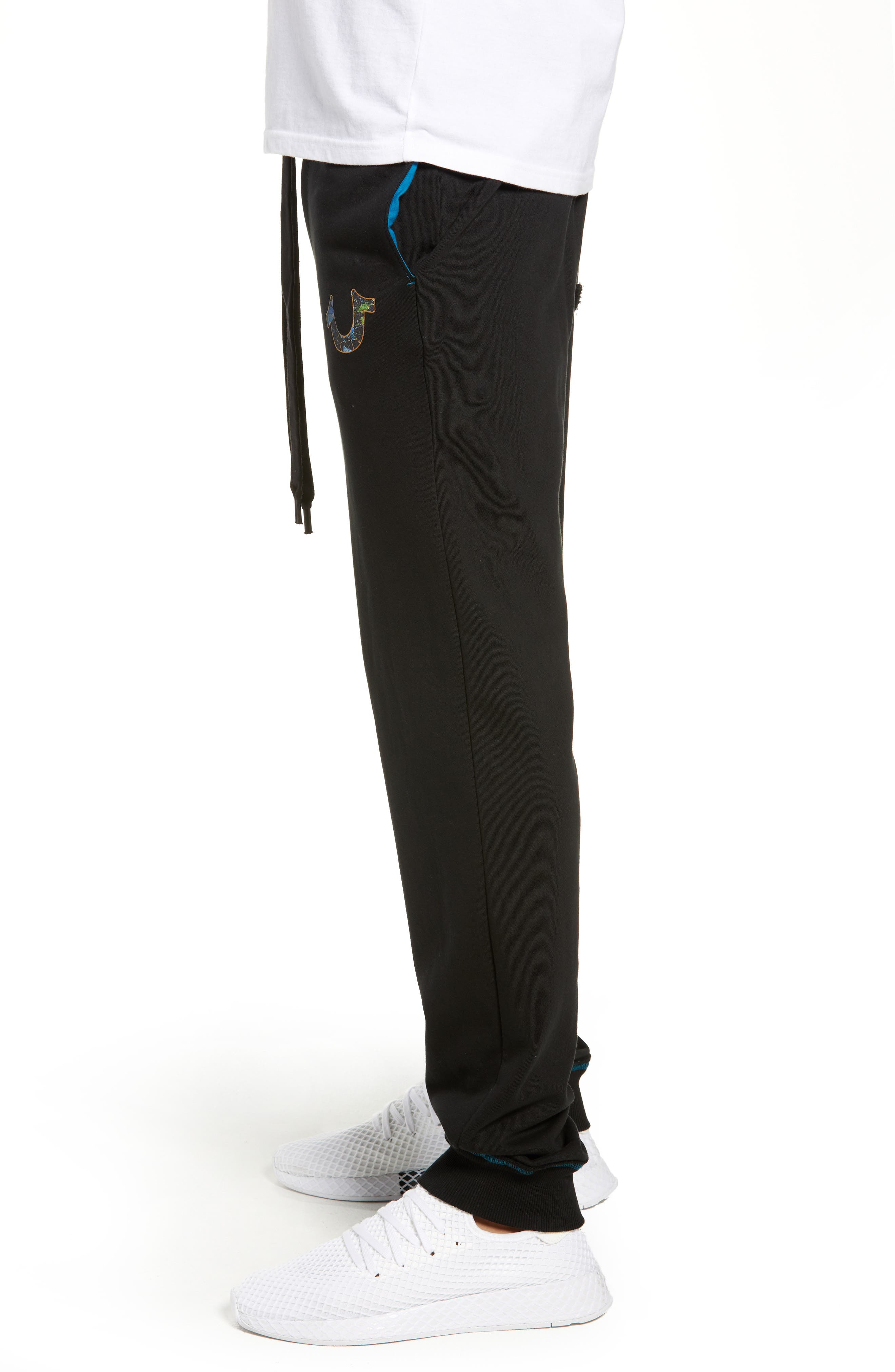 Stained Glass Logo Sweatpants,                             Alternate thumbnail 3, color,                             TRUE BLACK