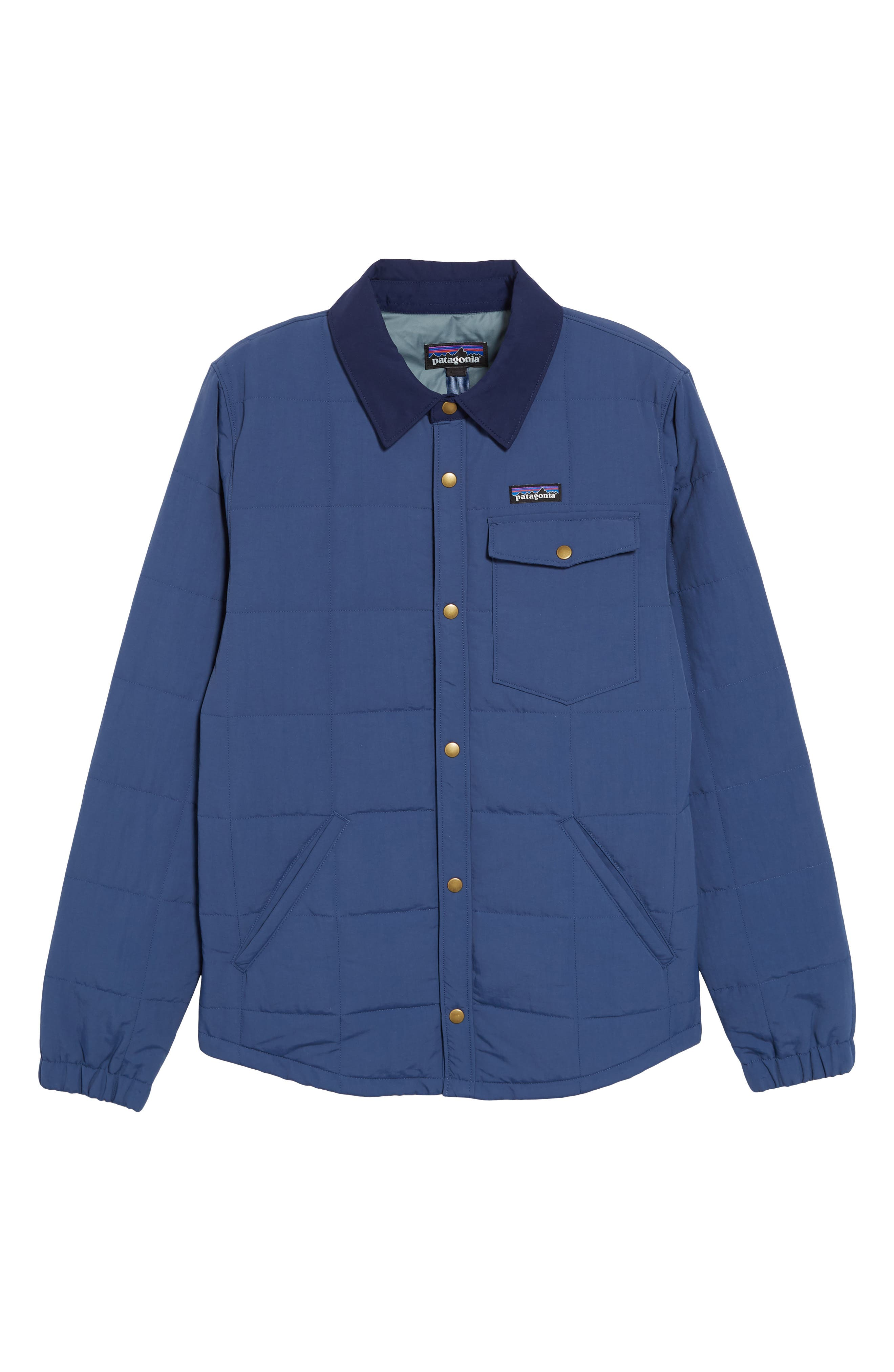 Wind & Water Resistant Quilted Shirt Jacket,                         Main,                         color, STONE BLUE