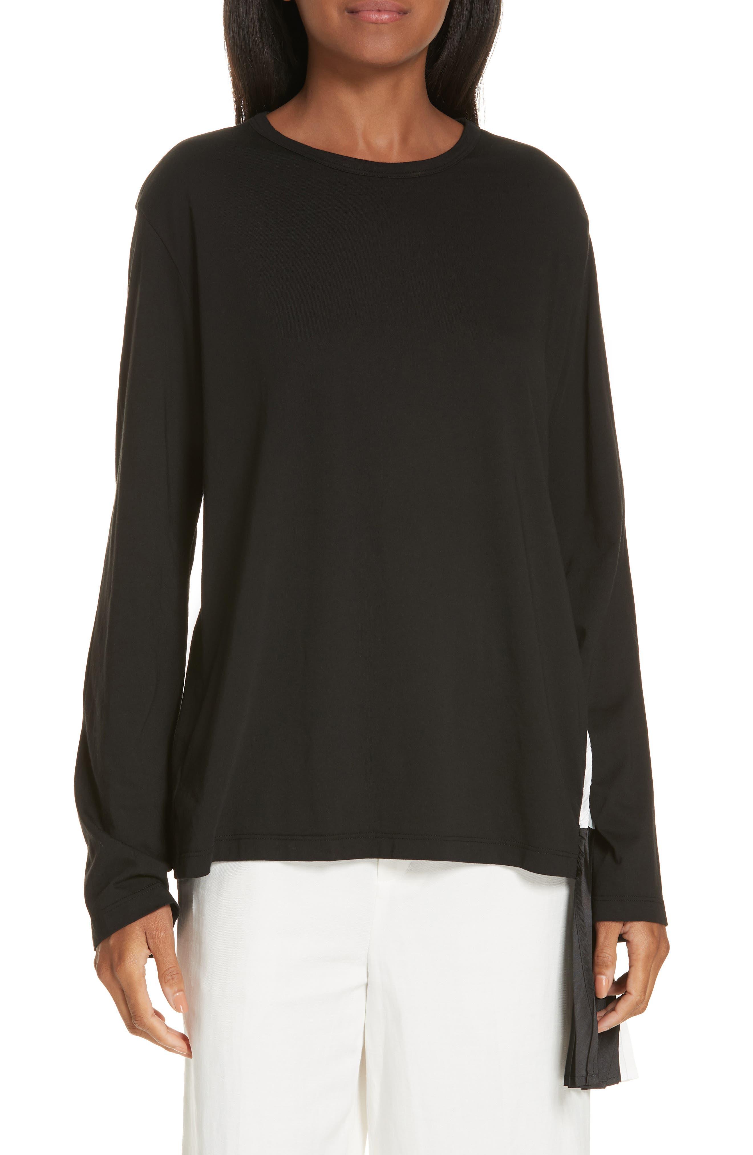 Pleat Accent Crewneck Long Sleeve Top,                         Main,                         color, BLACK/ BLACK/ WHITE