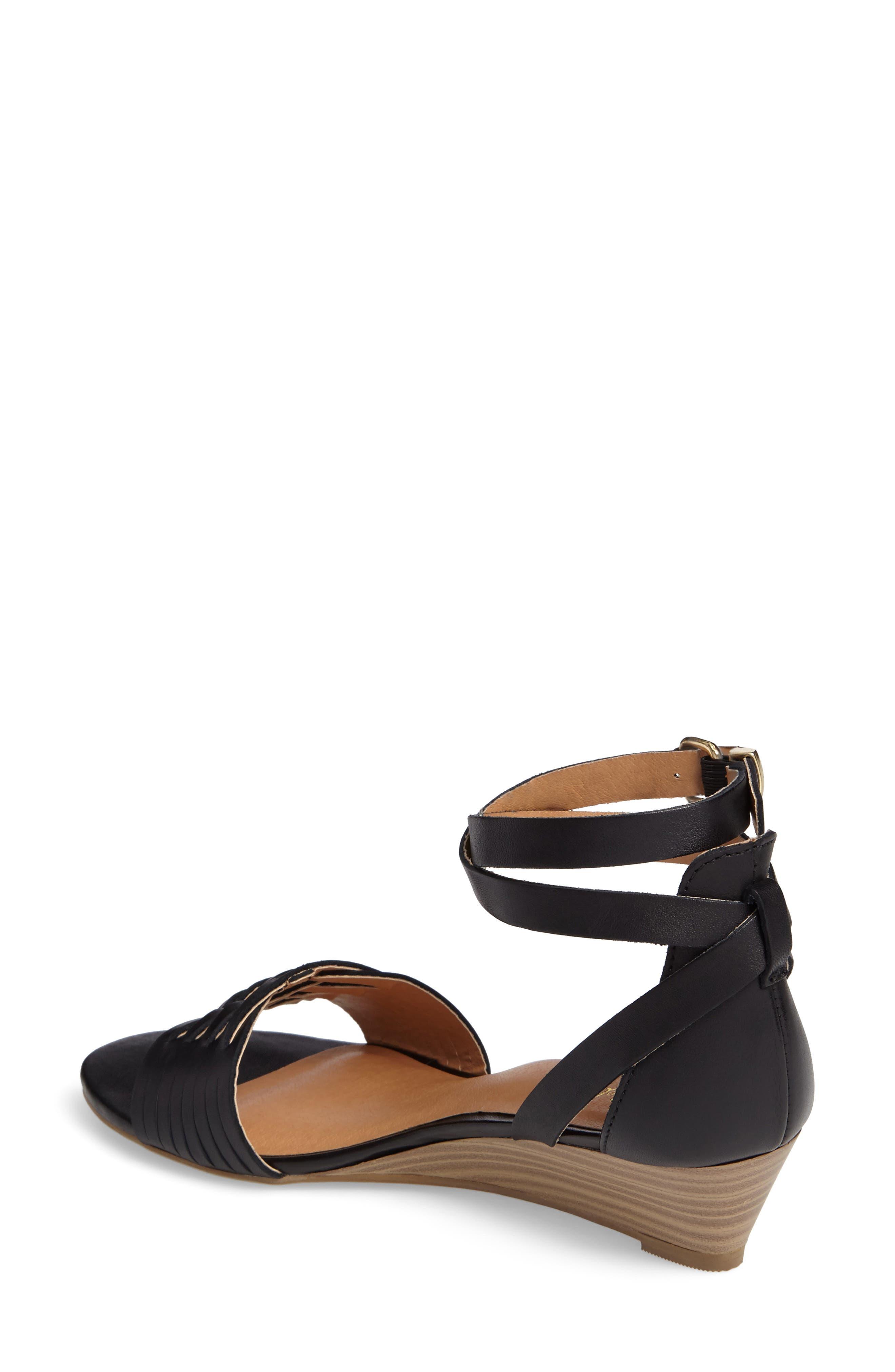 Sincere Wraparound Wedge Sandal,                             Alternate thumbnail 2, color,                             001