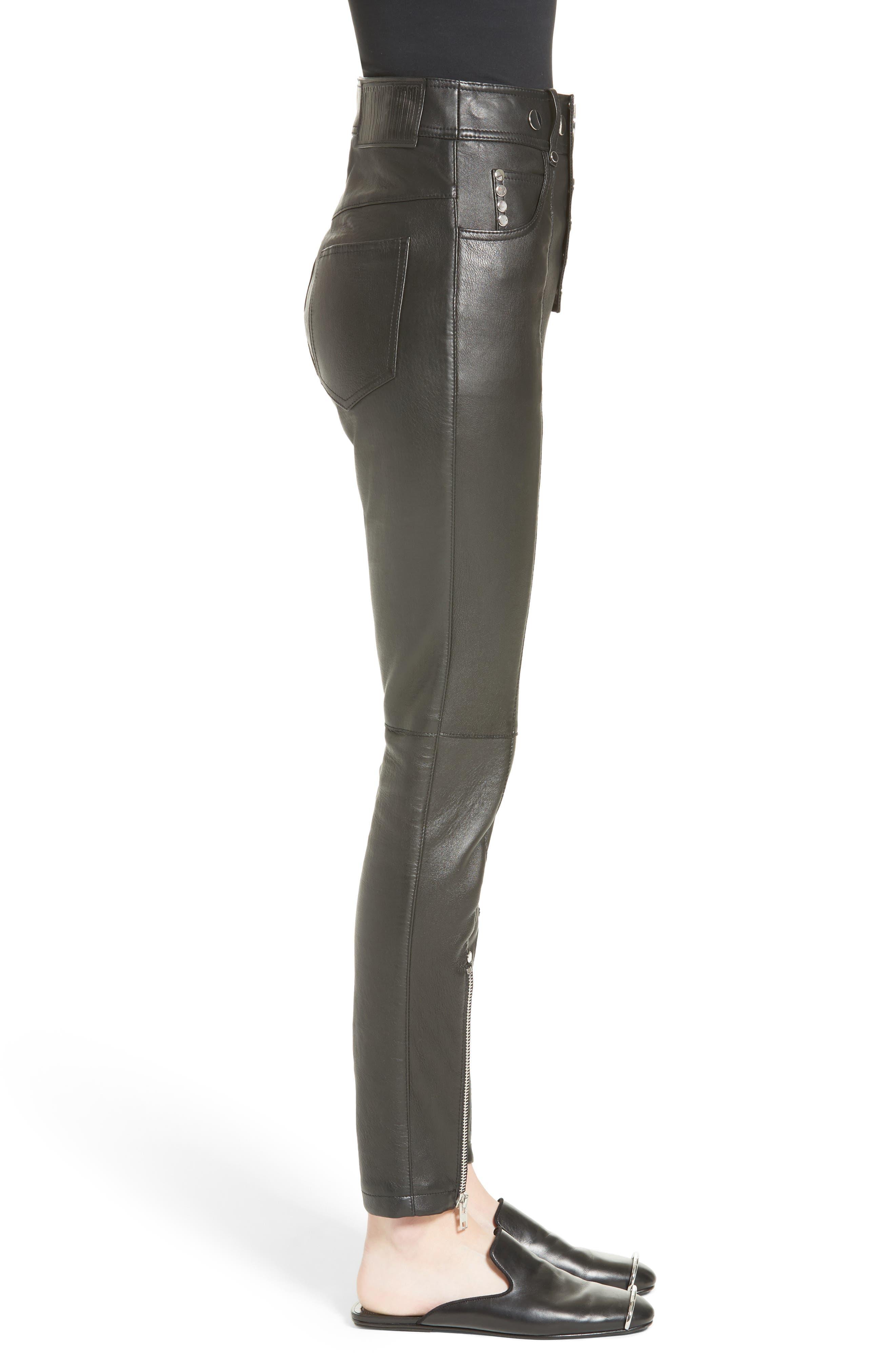 High Waist Leather Pants,                             Alternate thumbnail 3, color,                             001