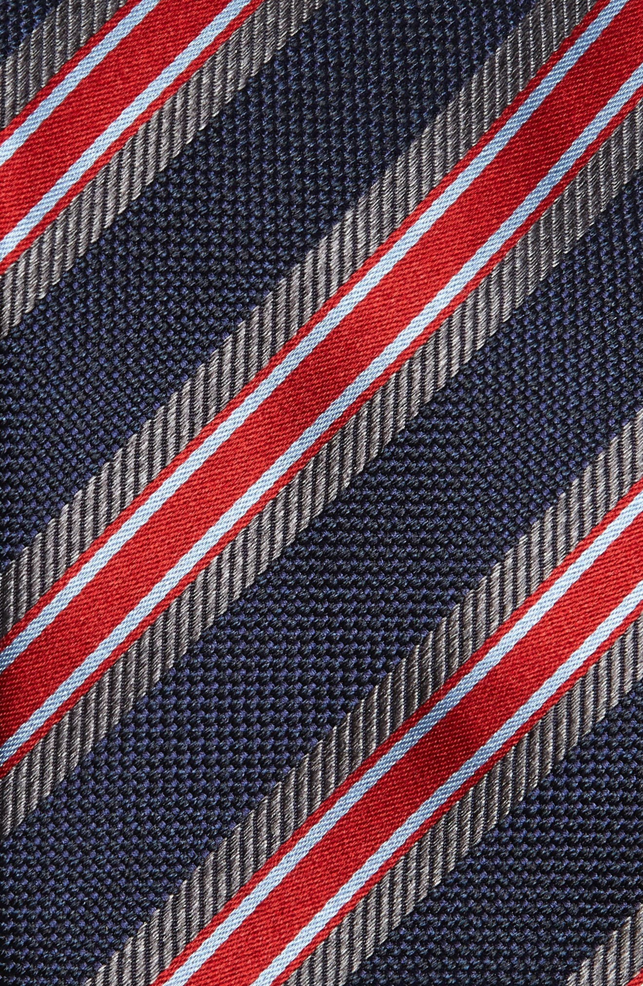 Stripe Silk Tie,                             Alternate thumbnail 2, color,                             BLUE/ RED