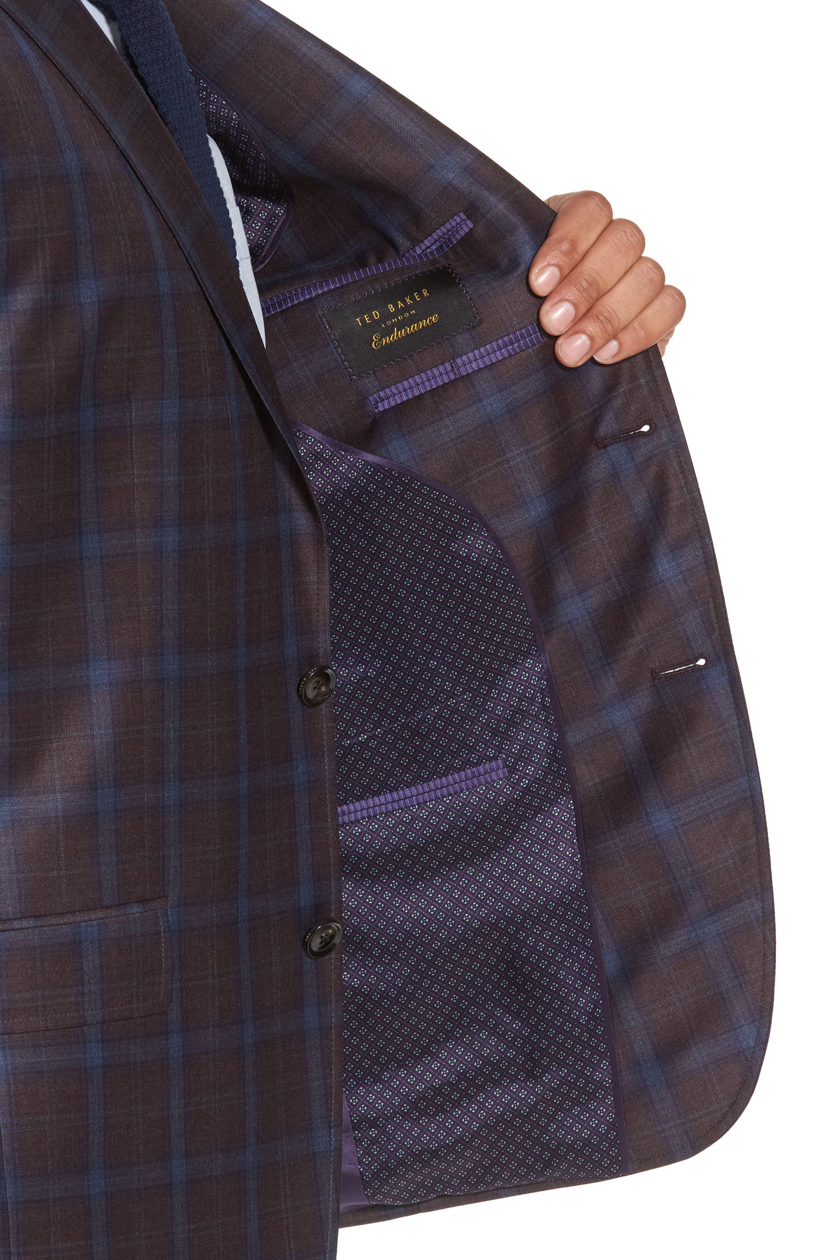 Jay Trim Fit Plaid Wool Sport Coat,                             Alternate thumbnail 4, color,                             932
