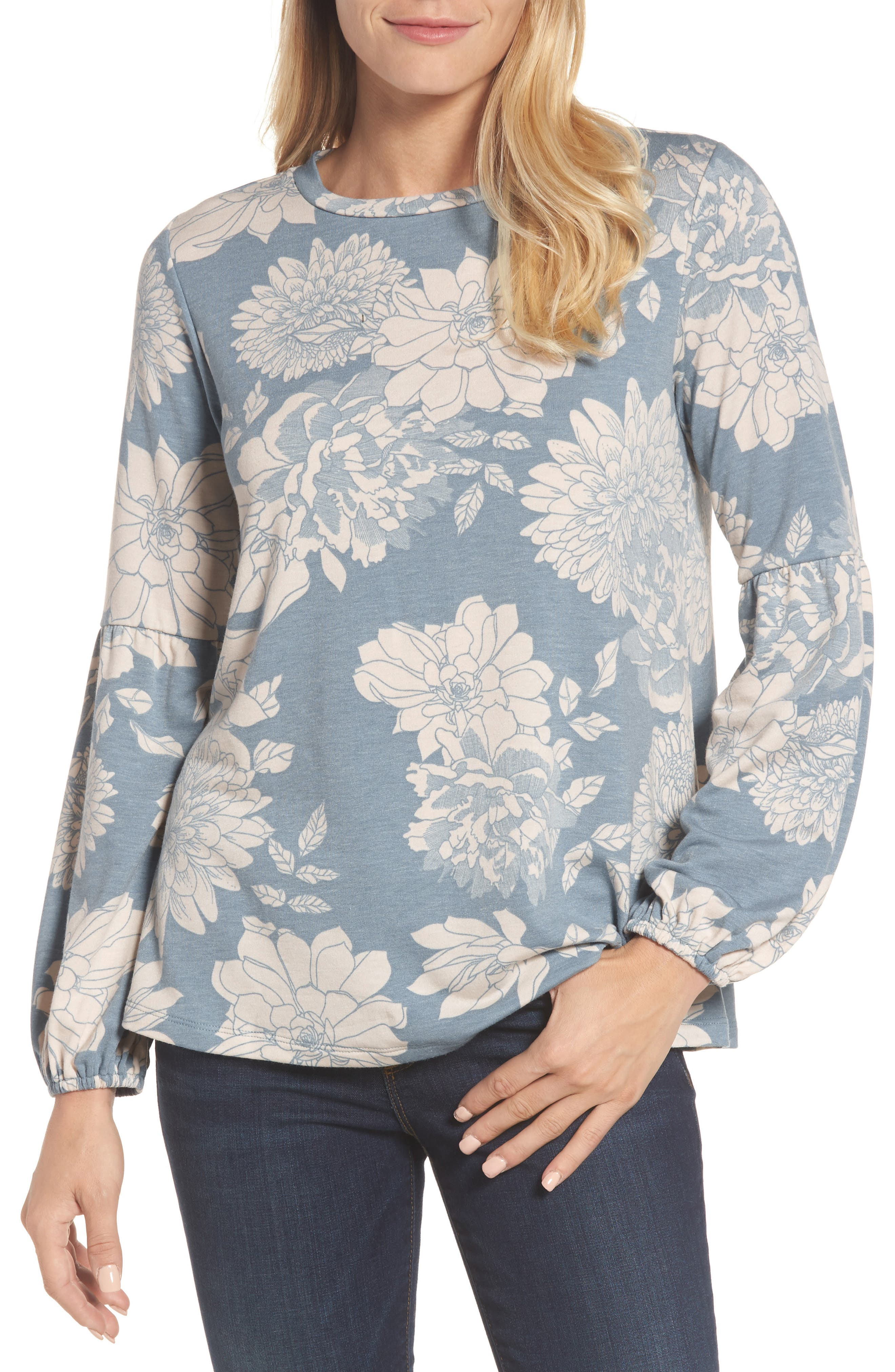 Floral Print Balloon Sleeve Sweatshirt,                             Main thumbnail 4, color,