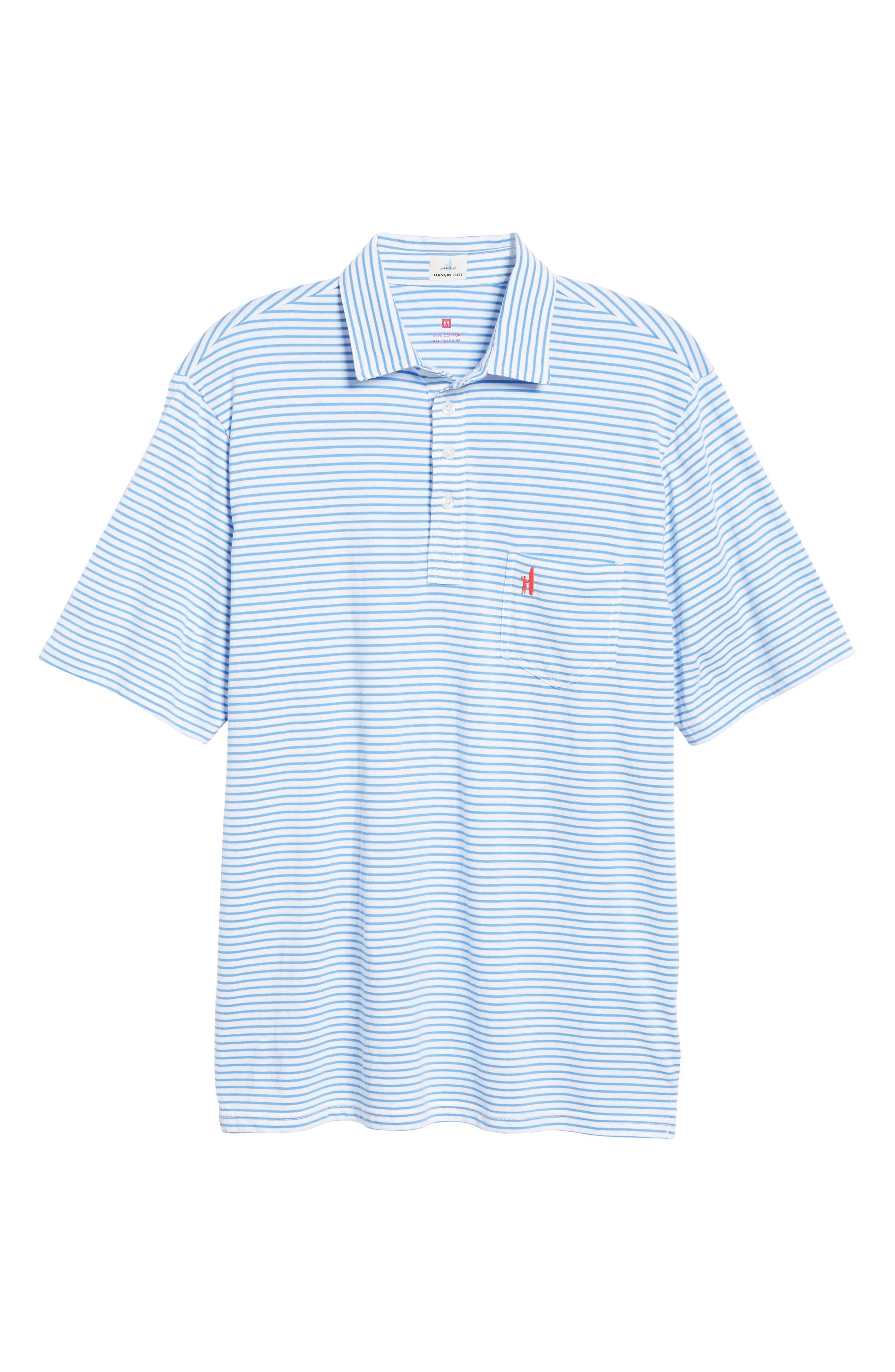 Macon Regular Fit Stripe Polo,                             Alternate thumbnail 6, color,                             WHITE