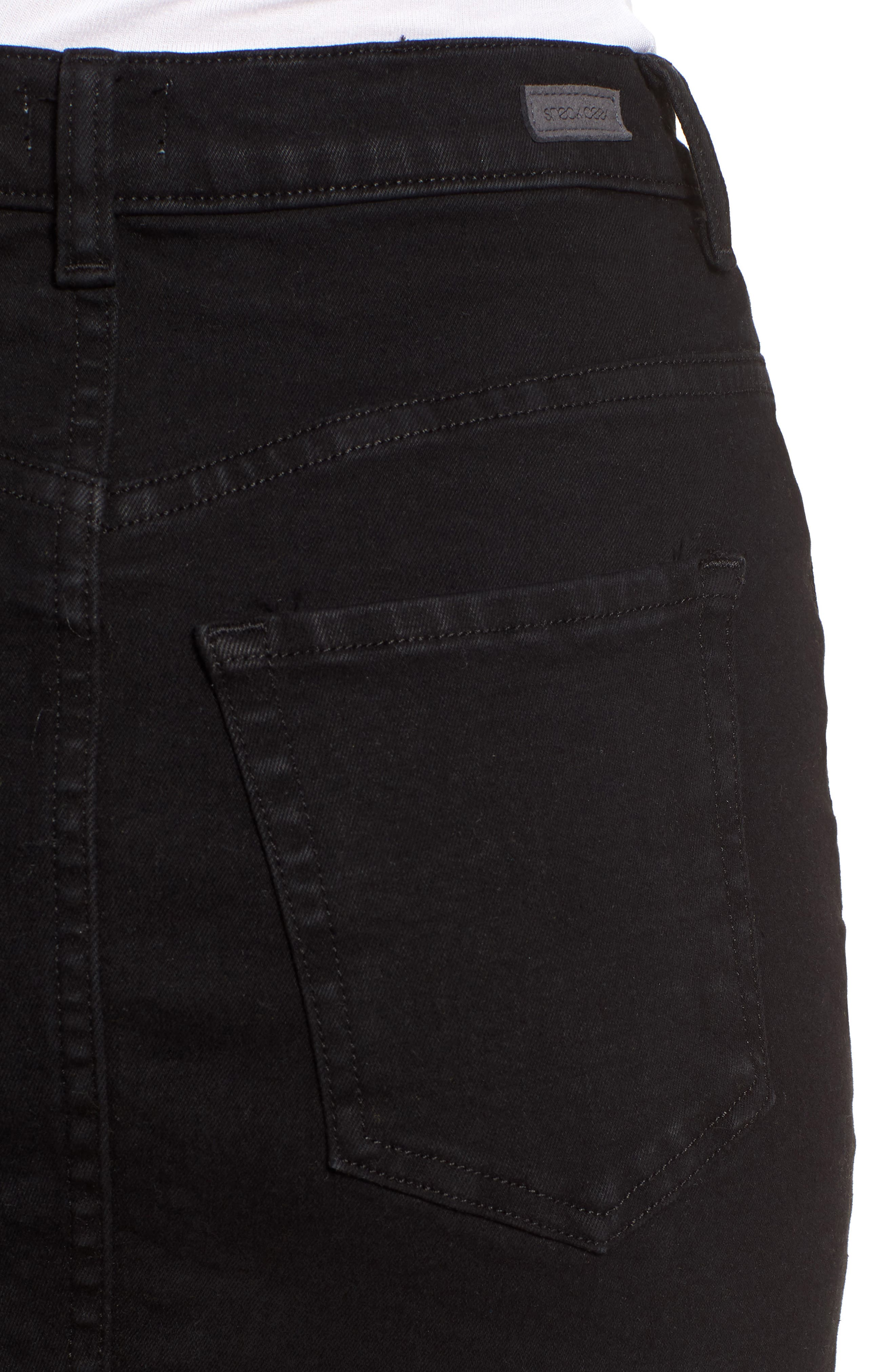 Stretch Denim Miniskirt,                             Alternate thumbnail 4, color,                             001