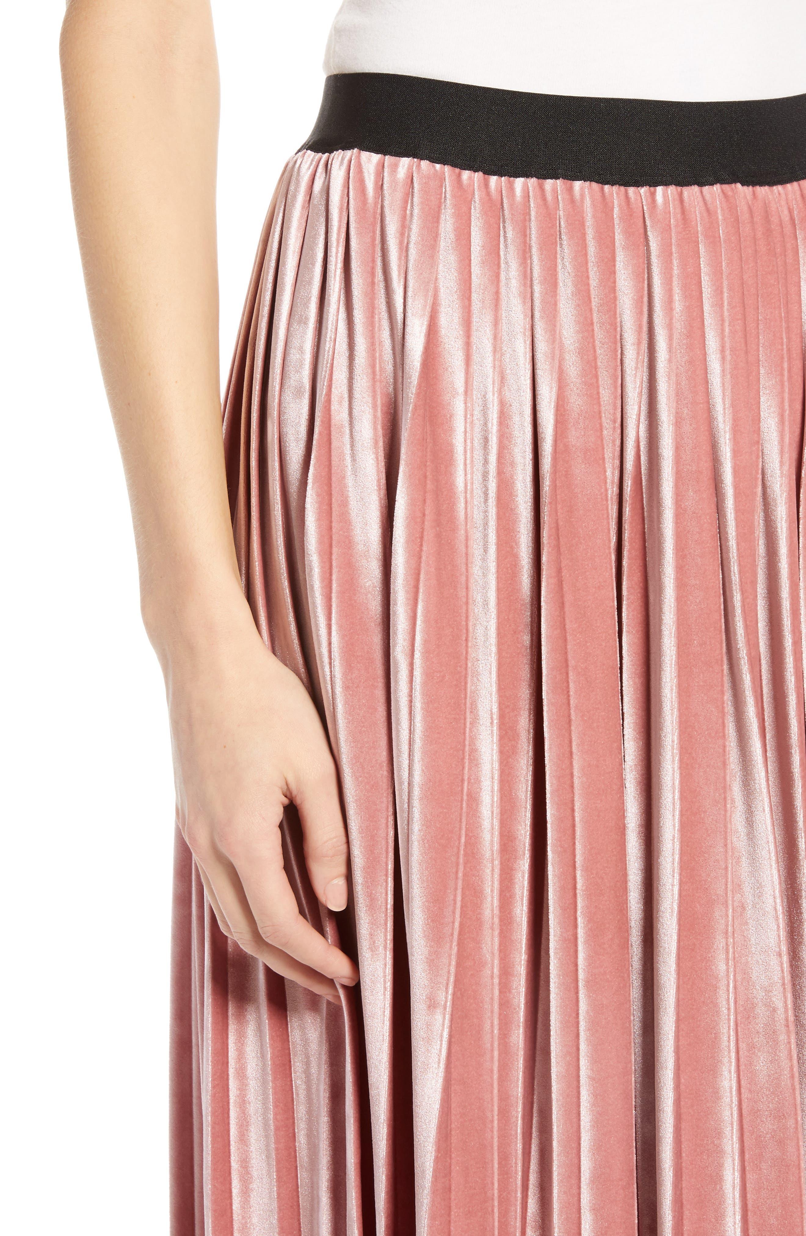 Velvet Pleated Midi Skirt,                             Alternate thumbnail 4, color,                             PINK MESA