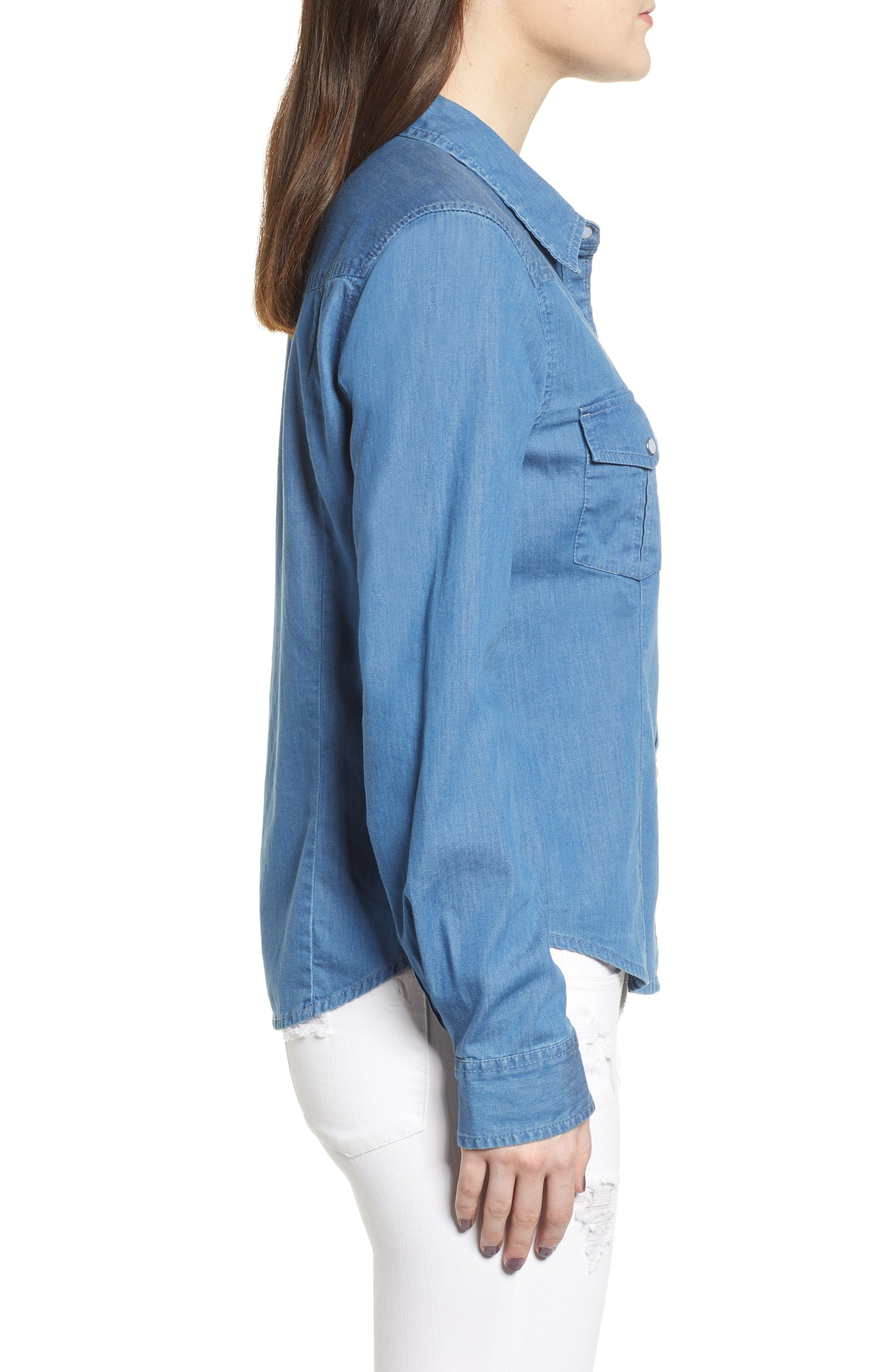 Fitted Chambray Shirt,                             Alternate thumbnail 4, color,                             ROBIN INDIGO
