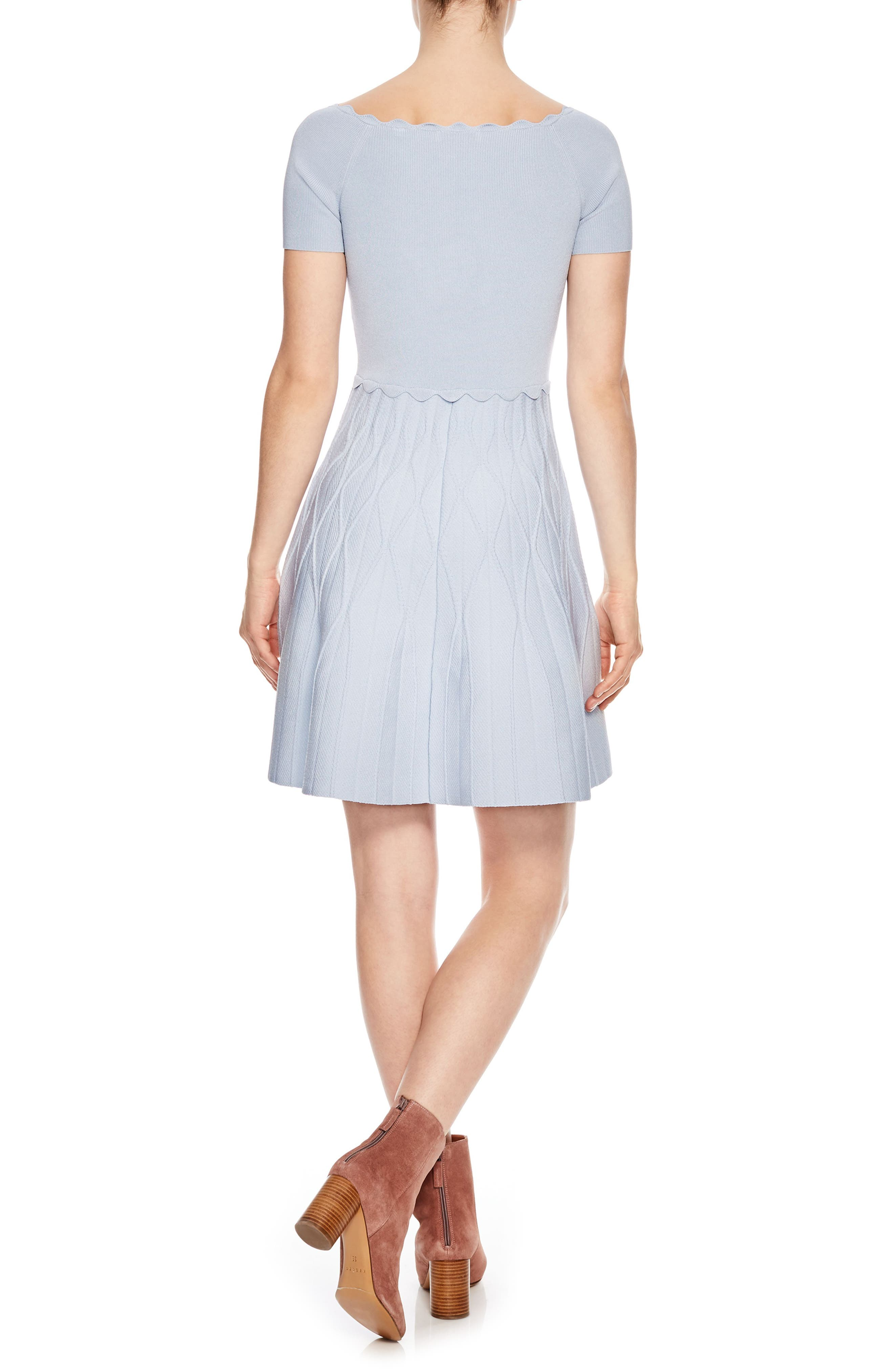 Scallop Detail Fit & Flare Dress,                             Alternate thumbnail 2, color,