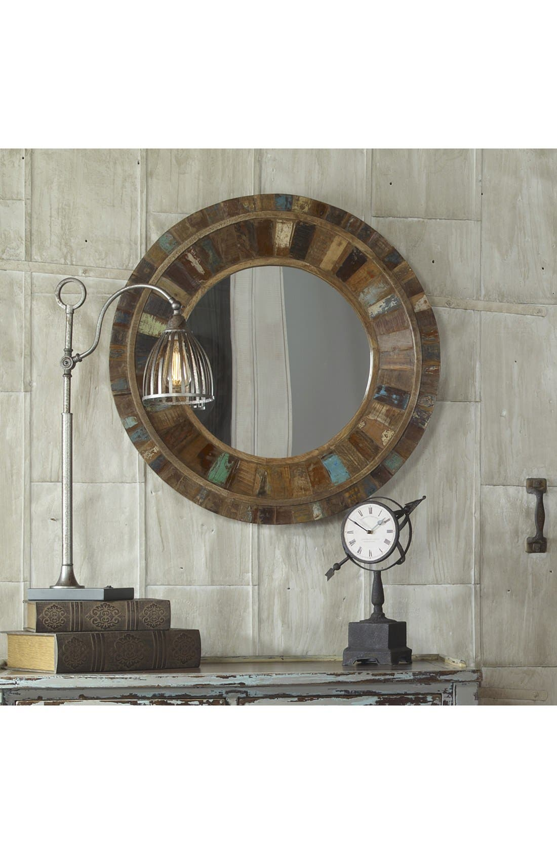 'Jeremiah' Round Wooden Wall Mirror,                             Alternate thumbnail 3, color,                             200