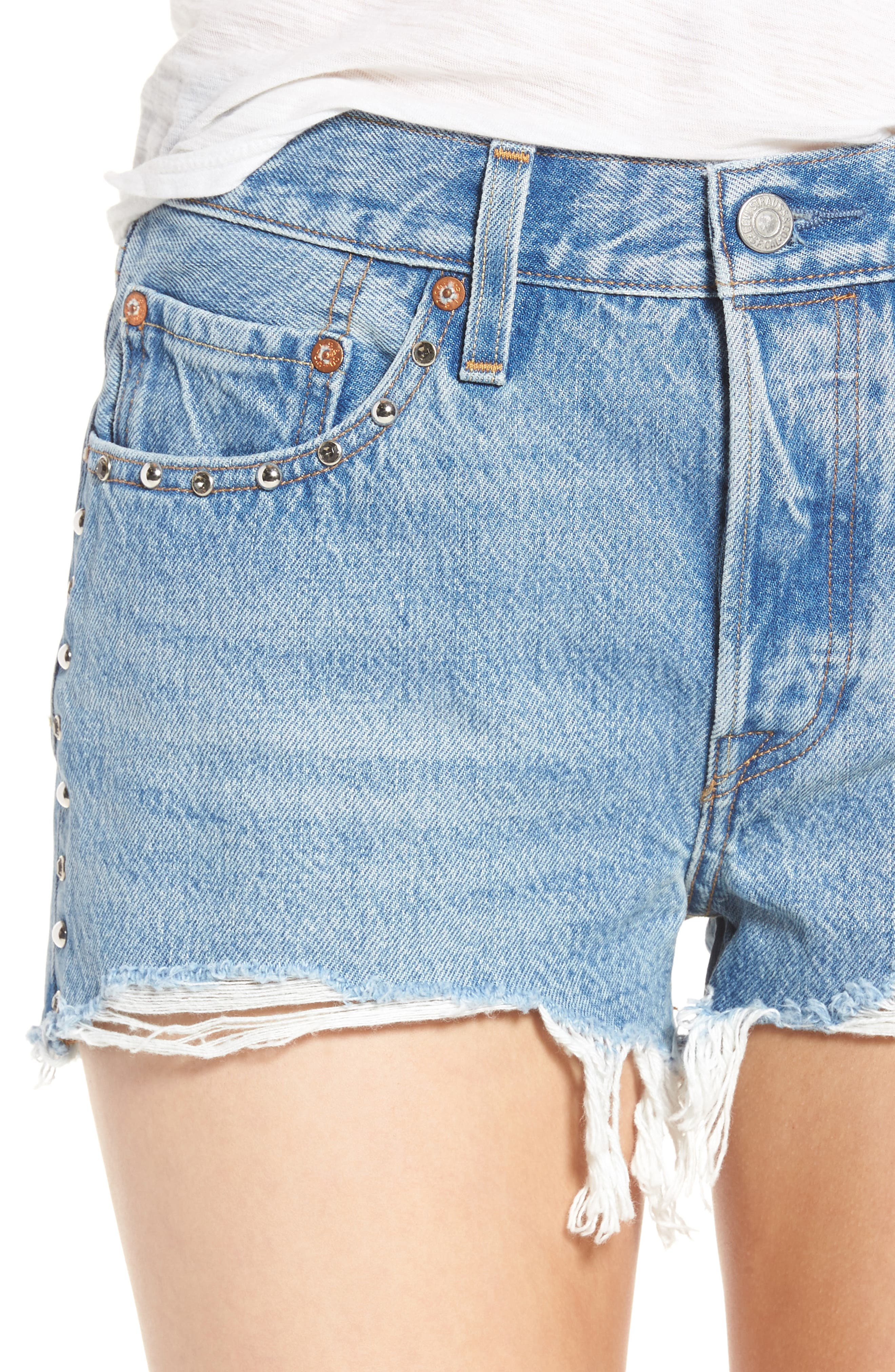 501<sup>®</sup> Distressed Cutoff Denim Shorts,                             Alternate thumbnail 4, color,                             420
