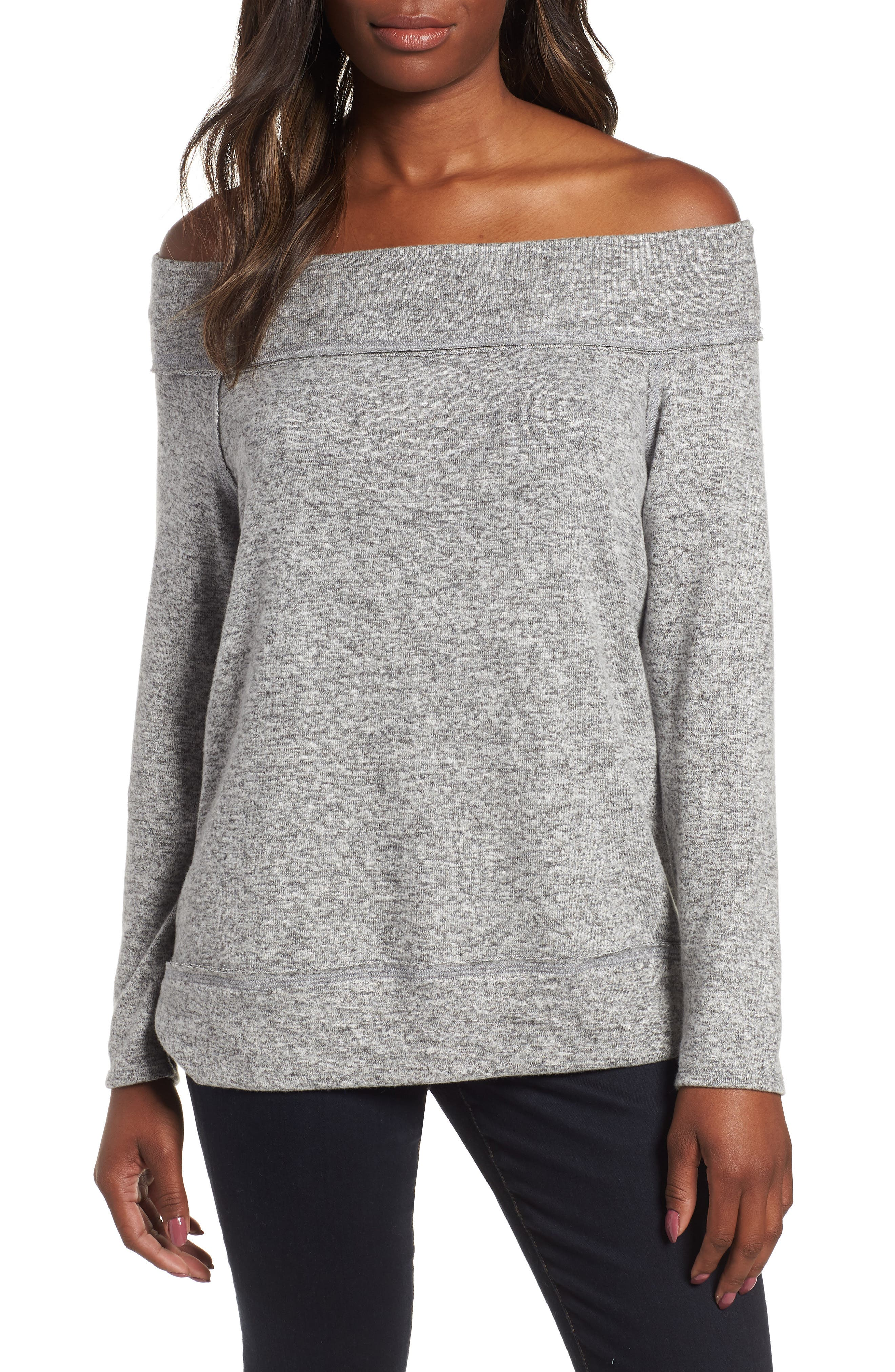x Living in Yellow Mary Fleece Off the Shoulder Top,                             Main thumbnail 1, color,                             HEATHER GREY