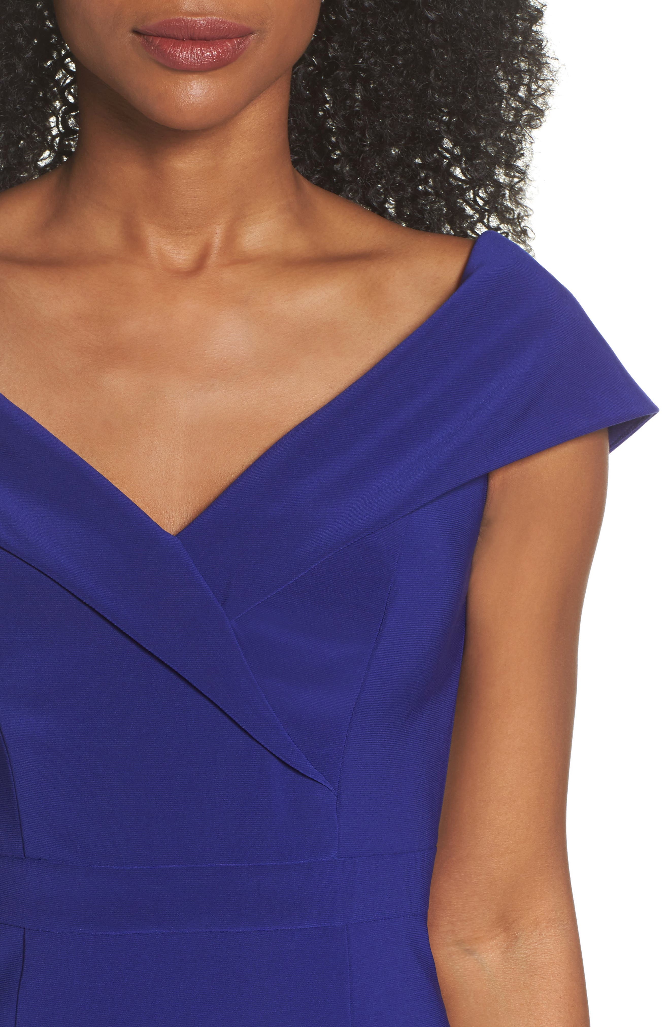 Off the Shoulder Gown,                             Alternate thumbnail 4, color,                             ELECTRIC BLUE