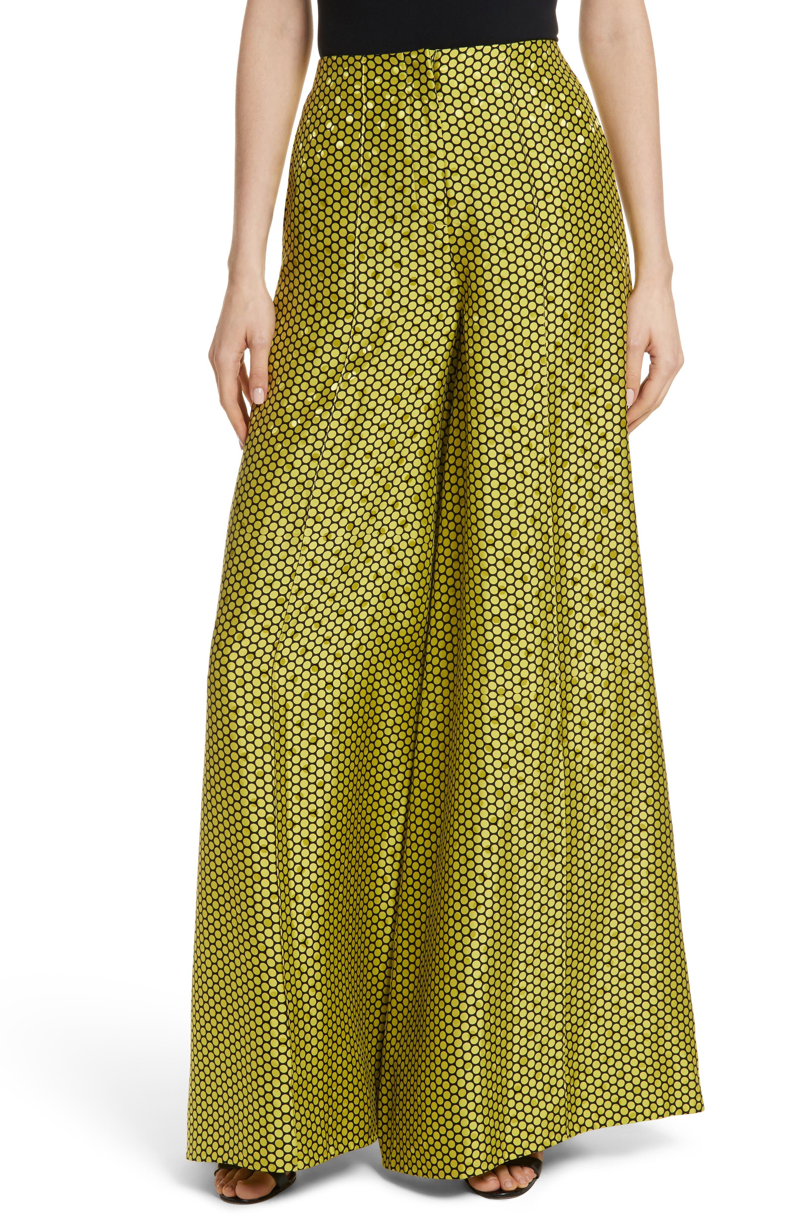 Diane von Furstenberg Dot Silk Palazzo Pants,                         Main,                         color, 390
