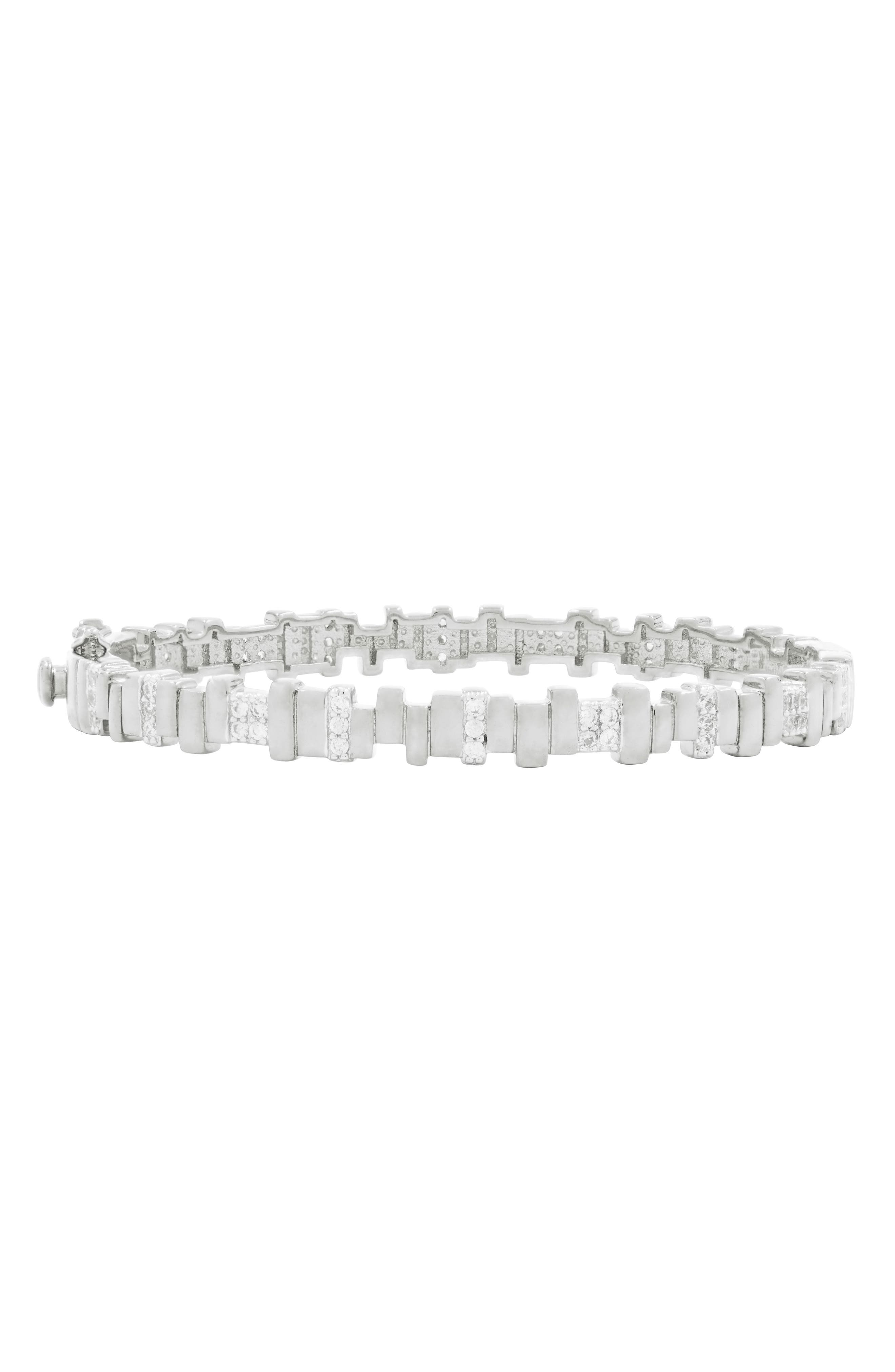 Radiance Cubic Zirconia Bangle,                         Main,                         color, SILVER