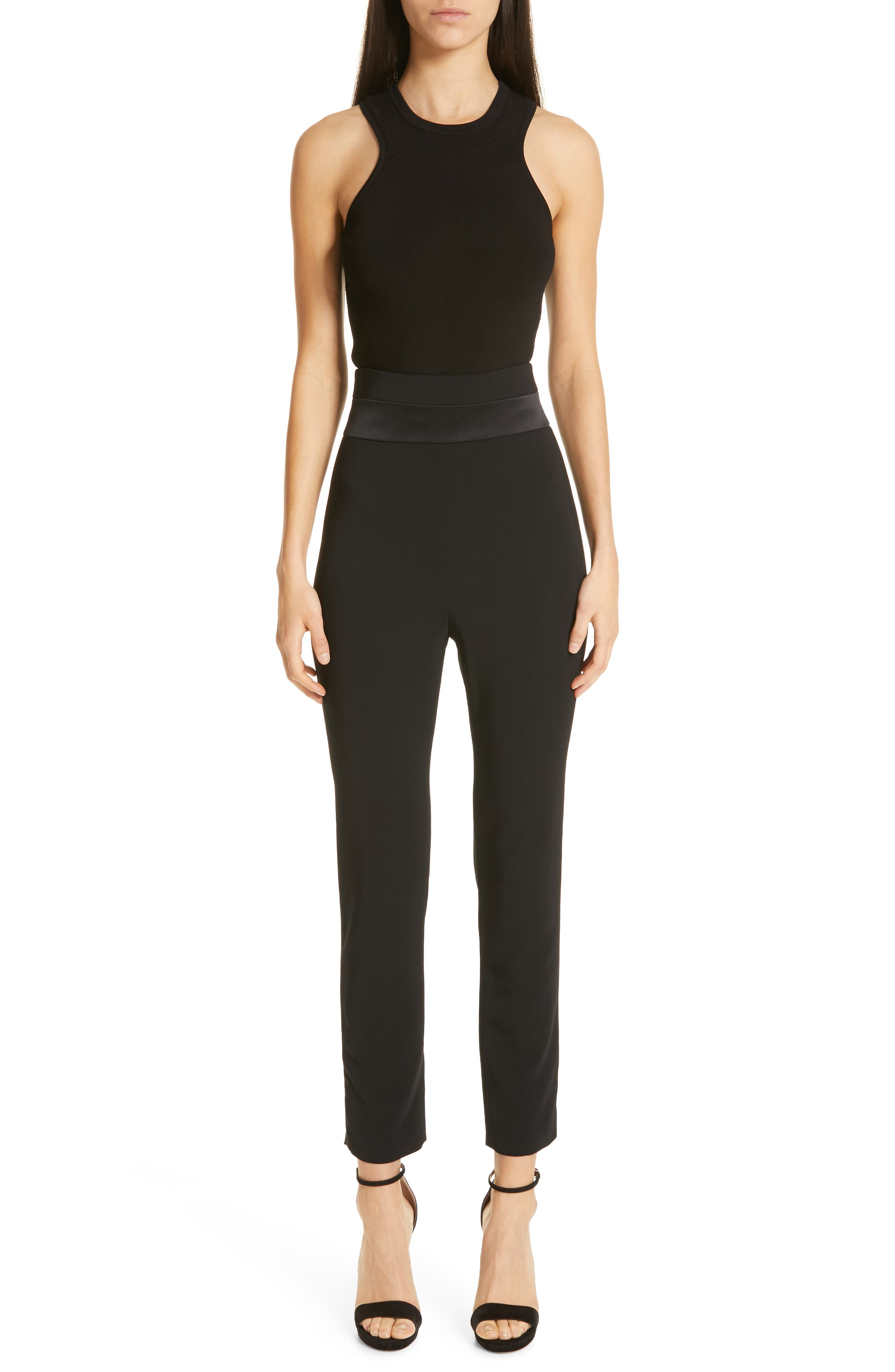 CUSHNIE,                             High Waist Crop Slim Pants,                             Alternate thumbnail 7, color,                             BLACK