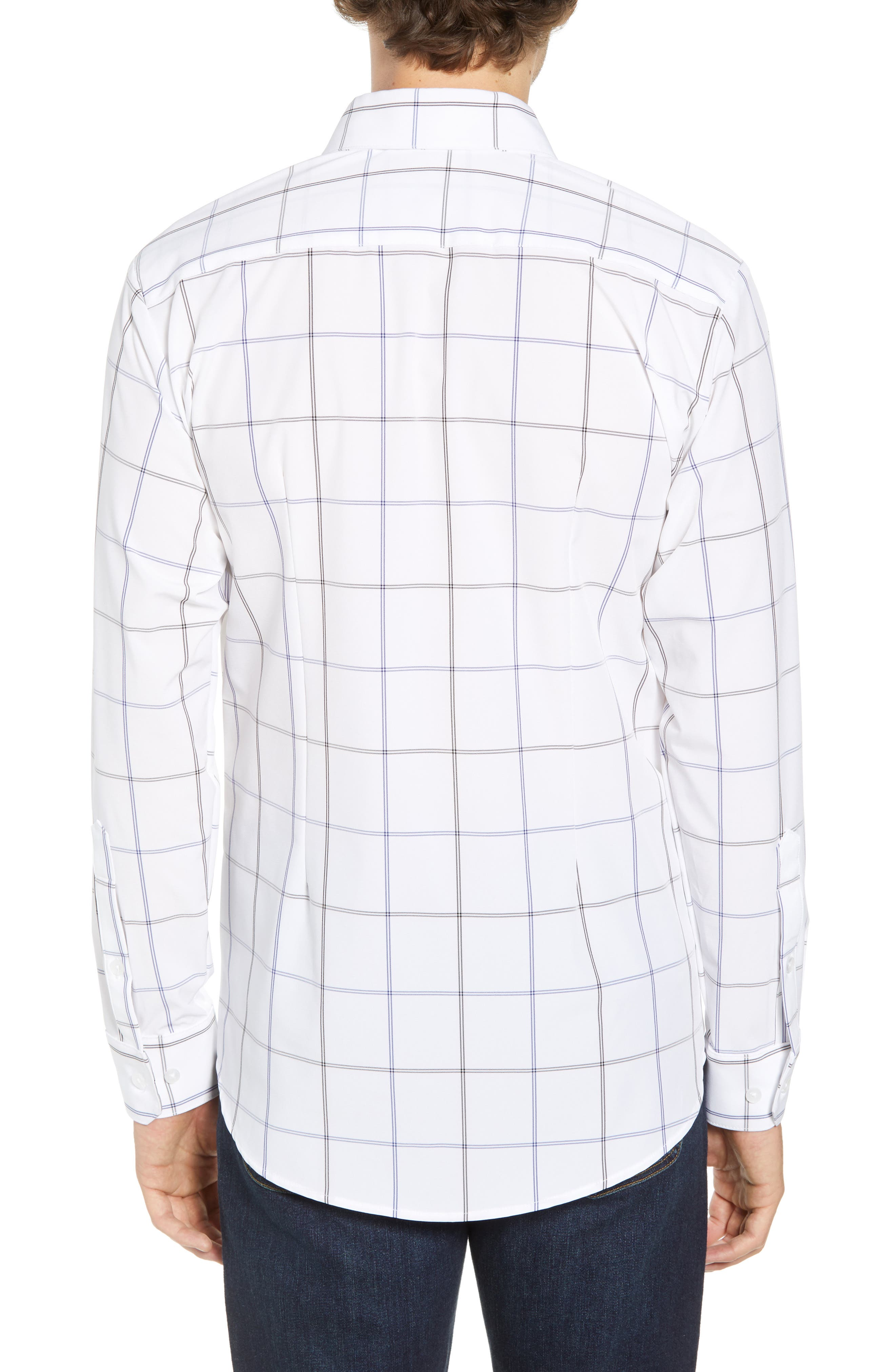 Crossman Slim Fit Grid Performance Sport Shirt,                             Alternate thumbnail 2, color,                             WHITE