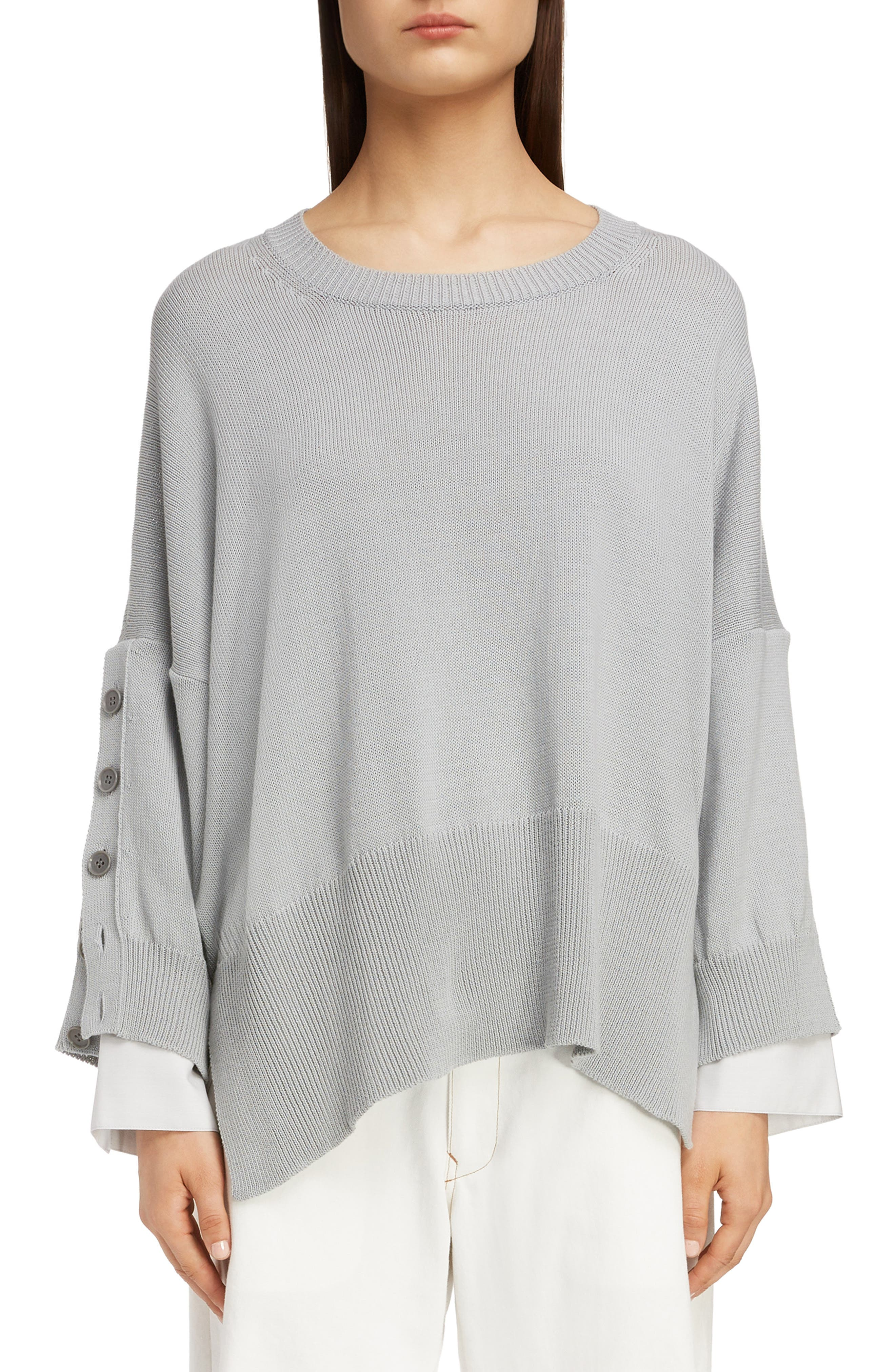 Button Sleeve Sweater,                             Main thumbnail 1, color,                             LIGHT GREY