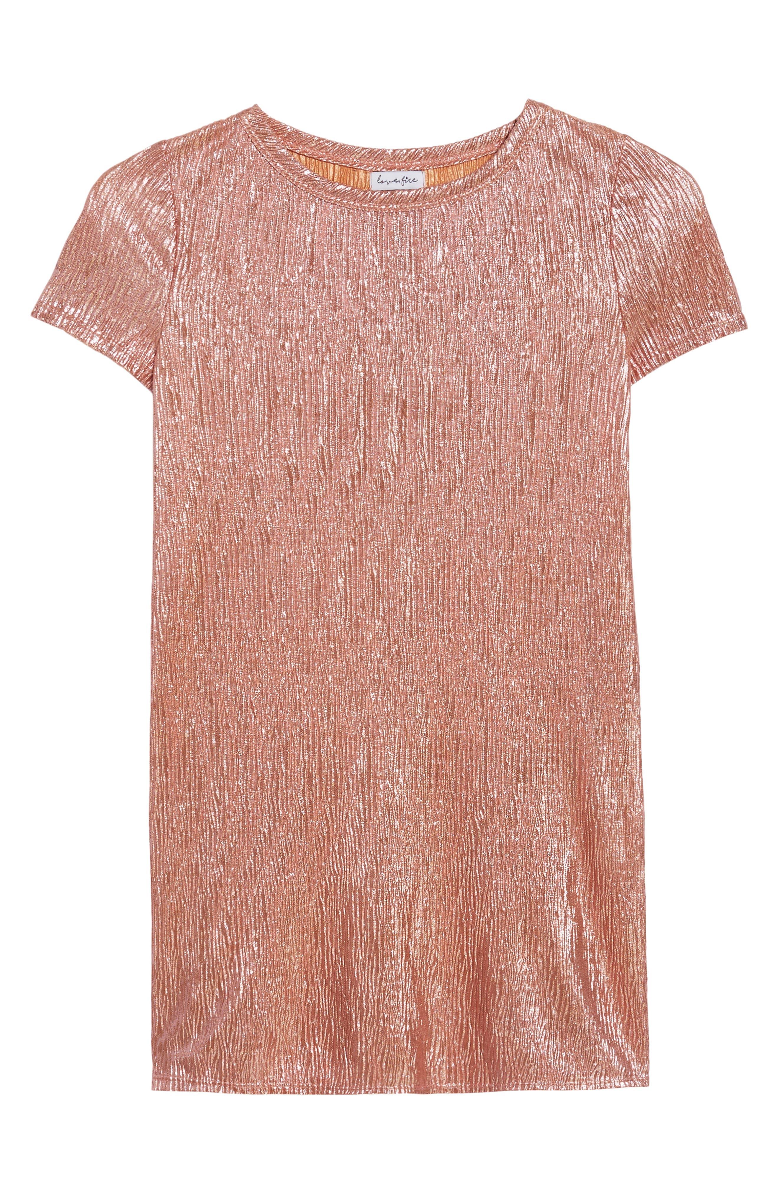 Love Fire Crinkled Metallic T-Shirt Dress,                             Main thumbnail 1, color,                             681