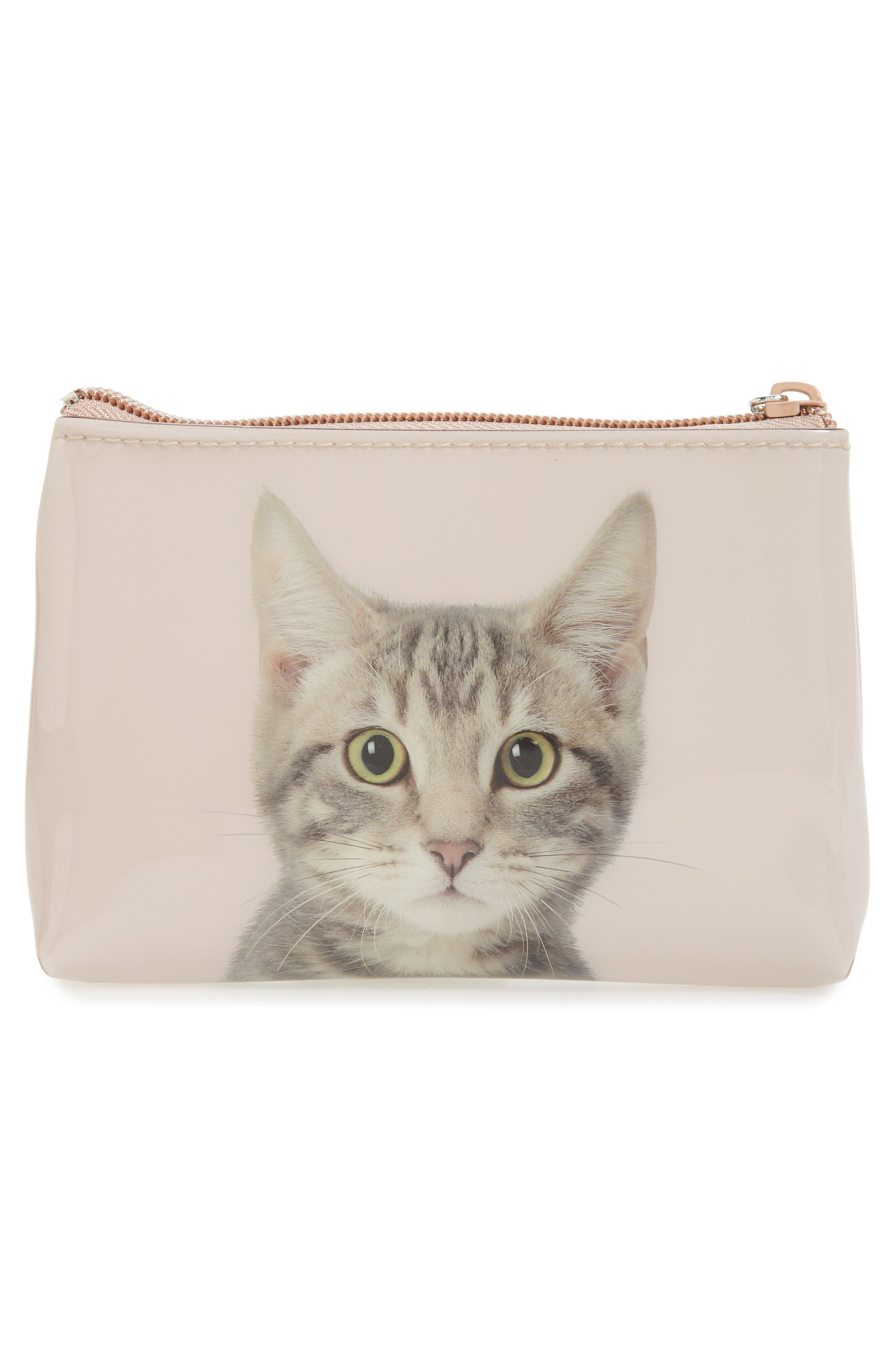 Small Kitty Zip Pouch,                             Alternate thumbnail 3, color,                             250