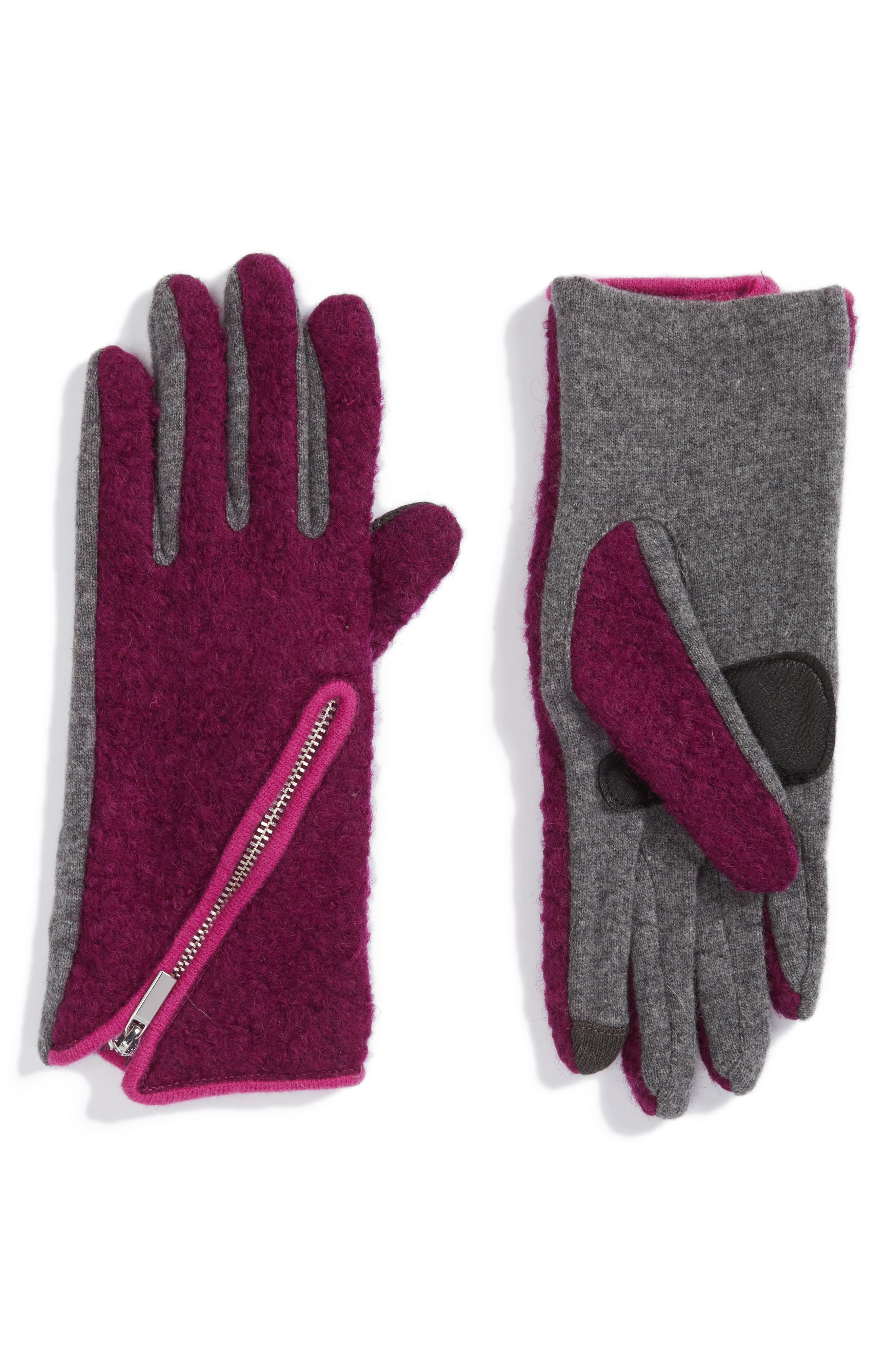 'Touch - Zip Bouclé' Tech Gloves,                             Main thumbnail 1, color,                             529