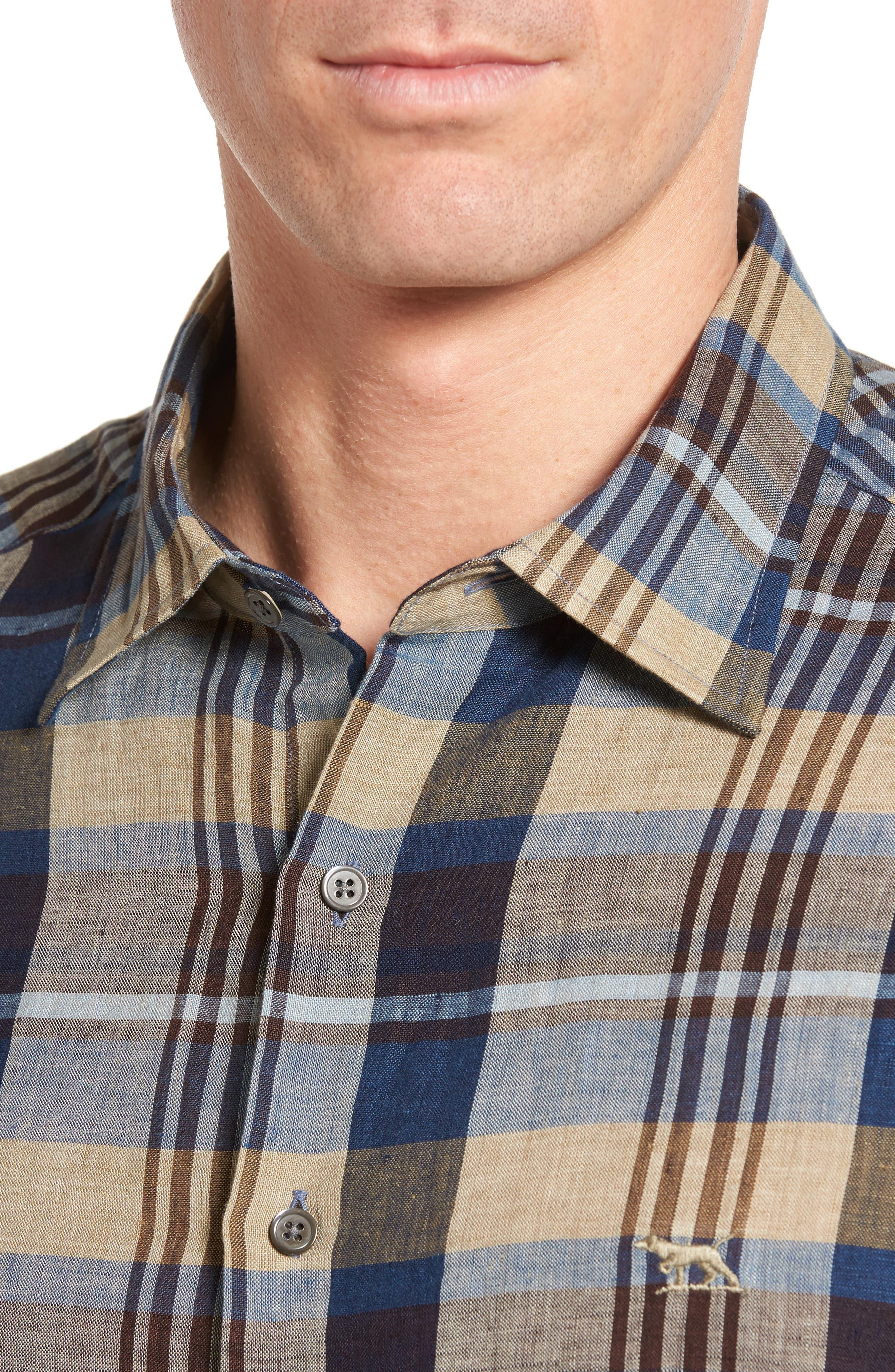 Pavillion Plaid Linen Sport Shirt,                             Alternate thumbnail 4, color,                             231