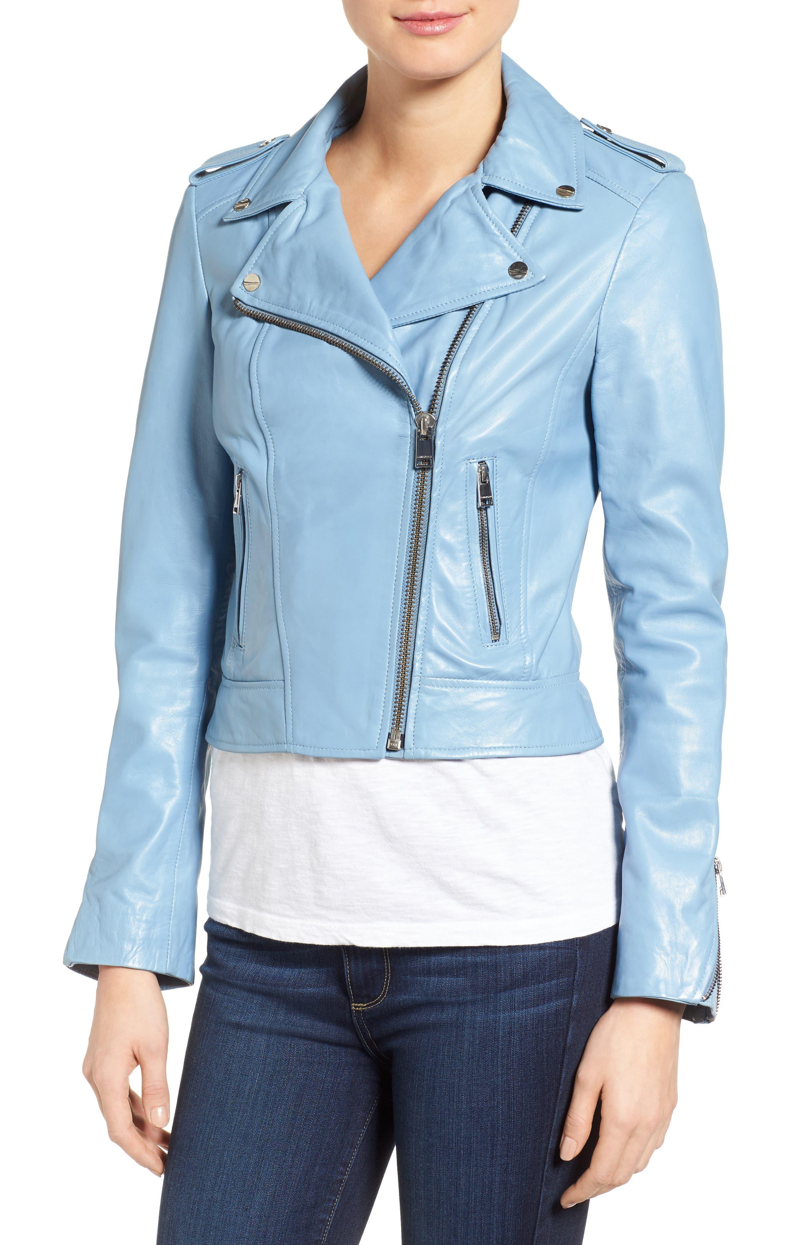 Donna Lambskin Leather Moto Jacket,                             Alternate thumbnail 4, color,                             POWDER BLUE