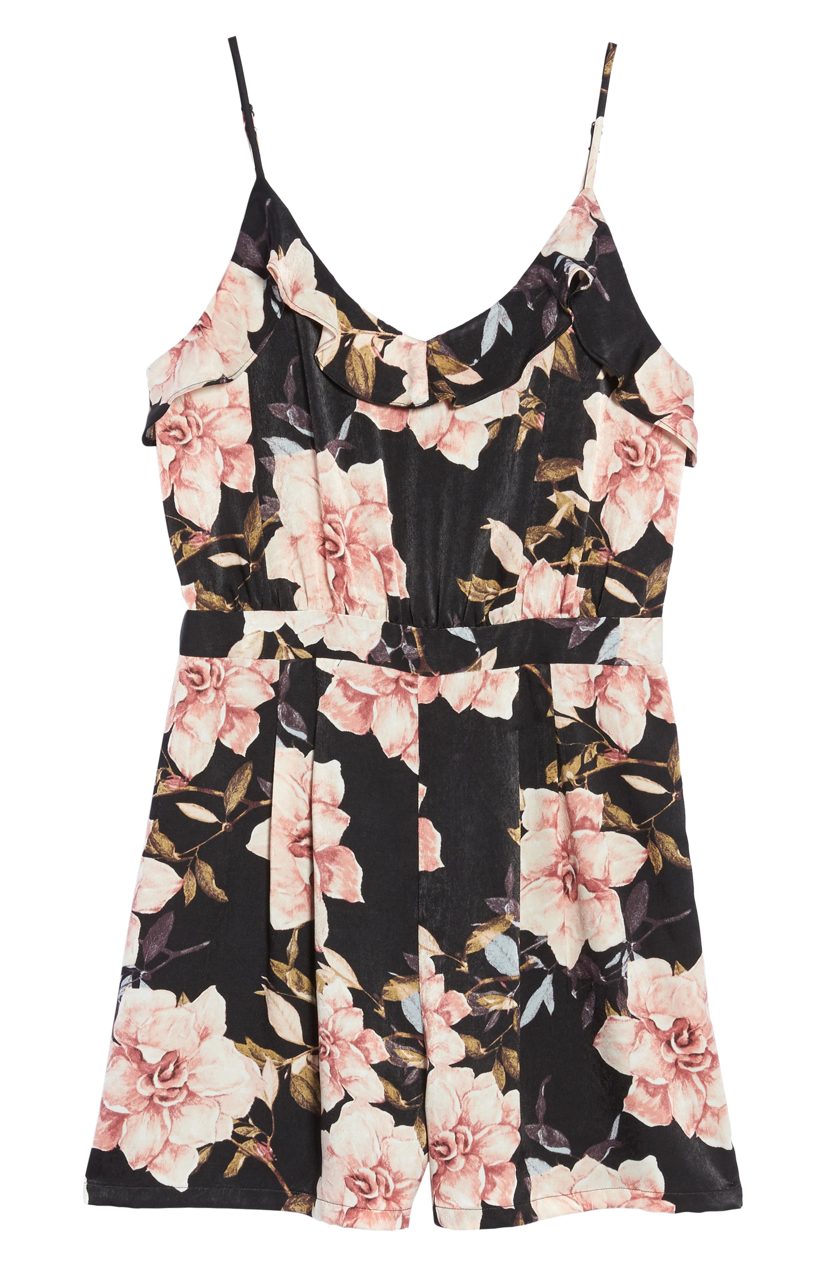 Floral Satin Romper,                             Alternate thumbnail 6, color,