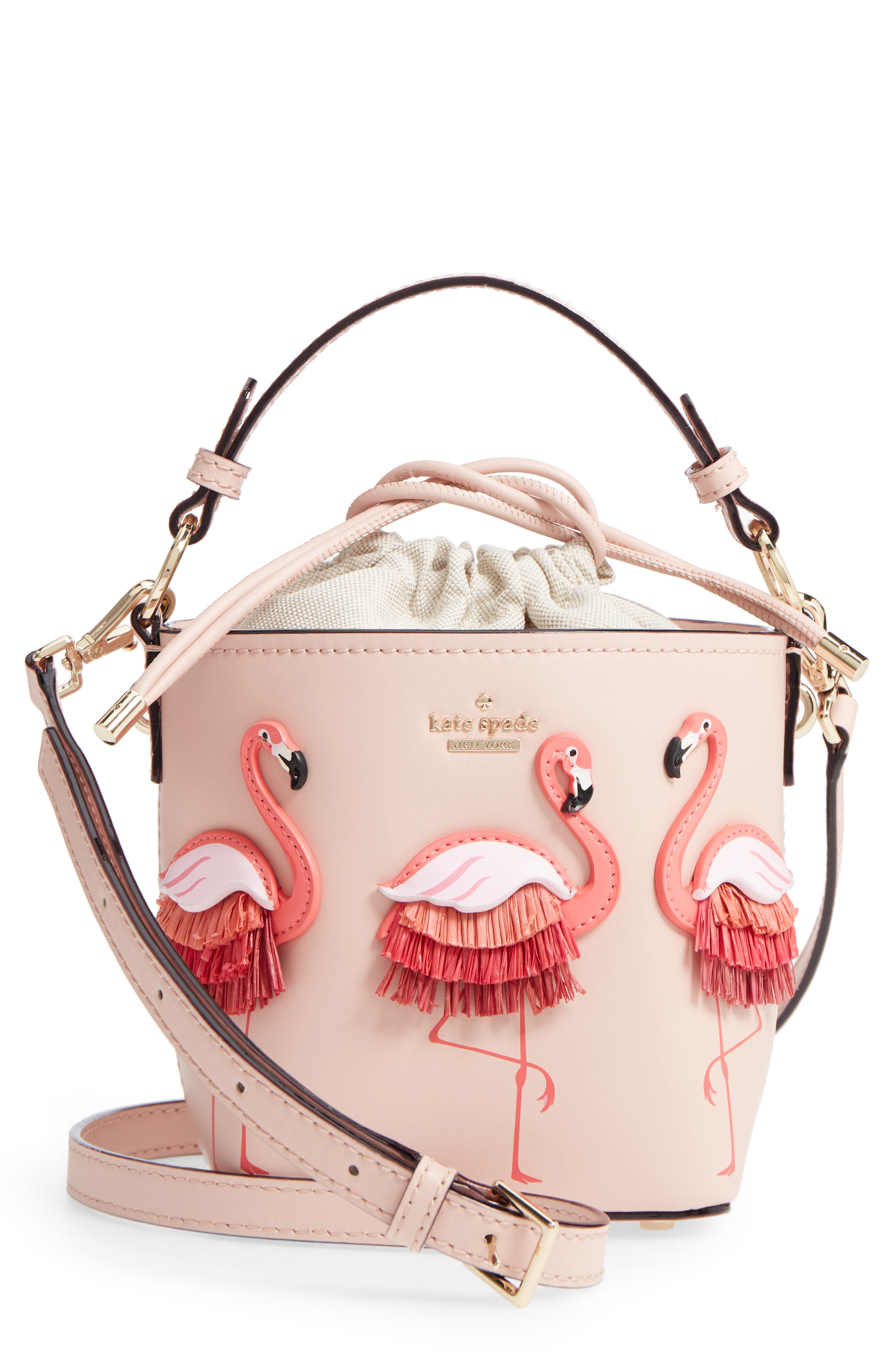 by the pool - flamingo pippa leather bucket bag, Main, color, 650