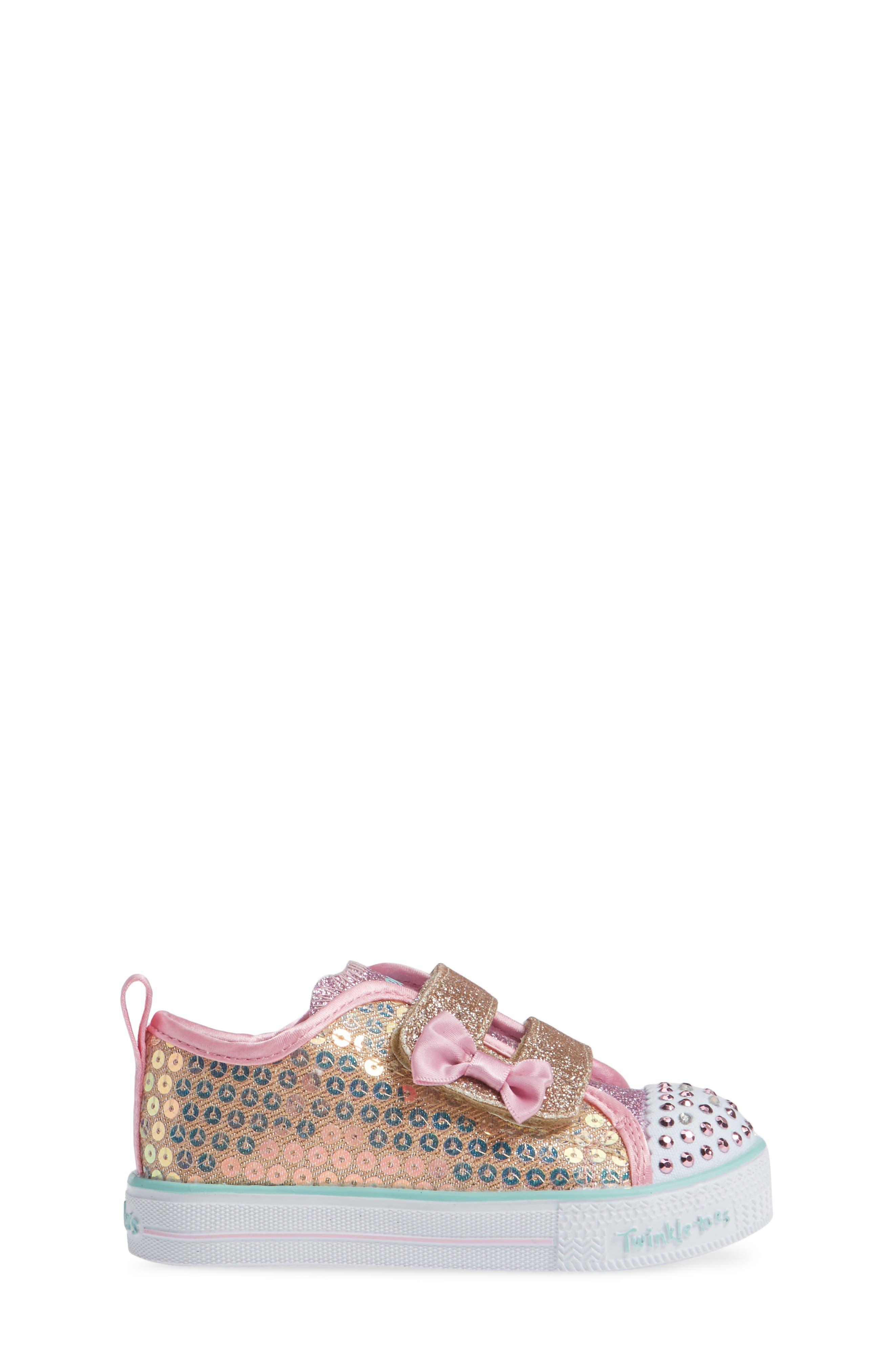 Shuffle Lite Glitter Sneaker,                             Alternate thumbnail 3, color,                             GOLD