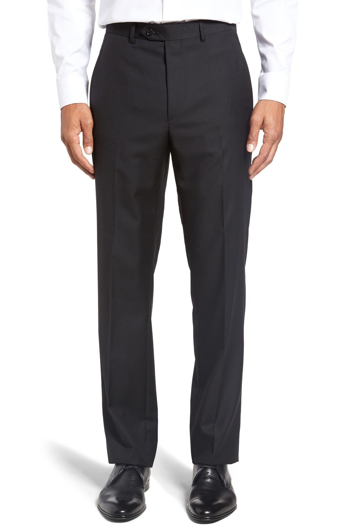 Flat Front Twill Wool Trousers,                             Main thumbnail 1, color,                             BLACK