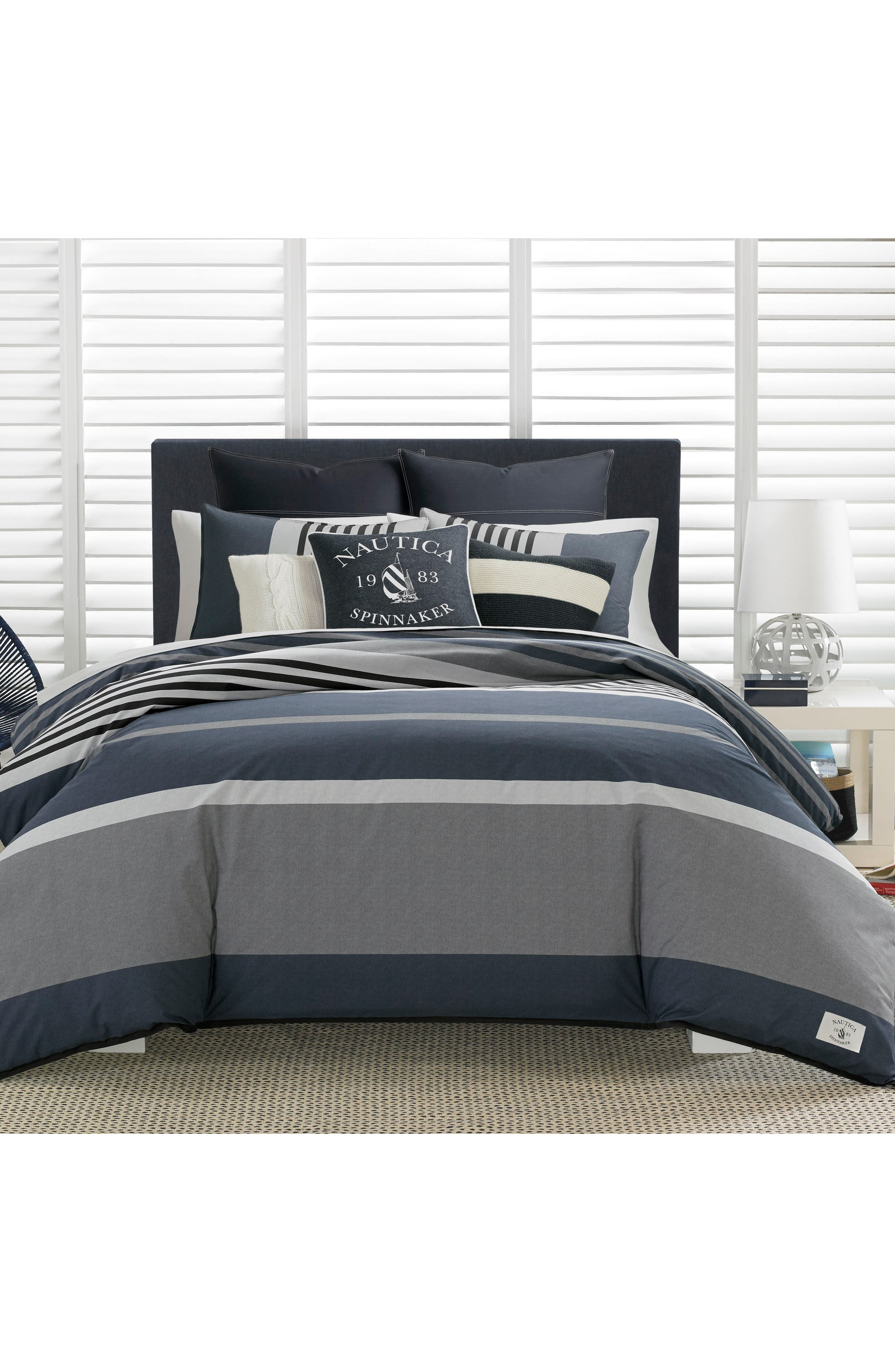 Rendon Stripe Comforter & Sham Set,                             Alternate thumbnail 2, color,                             CHARCOAL