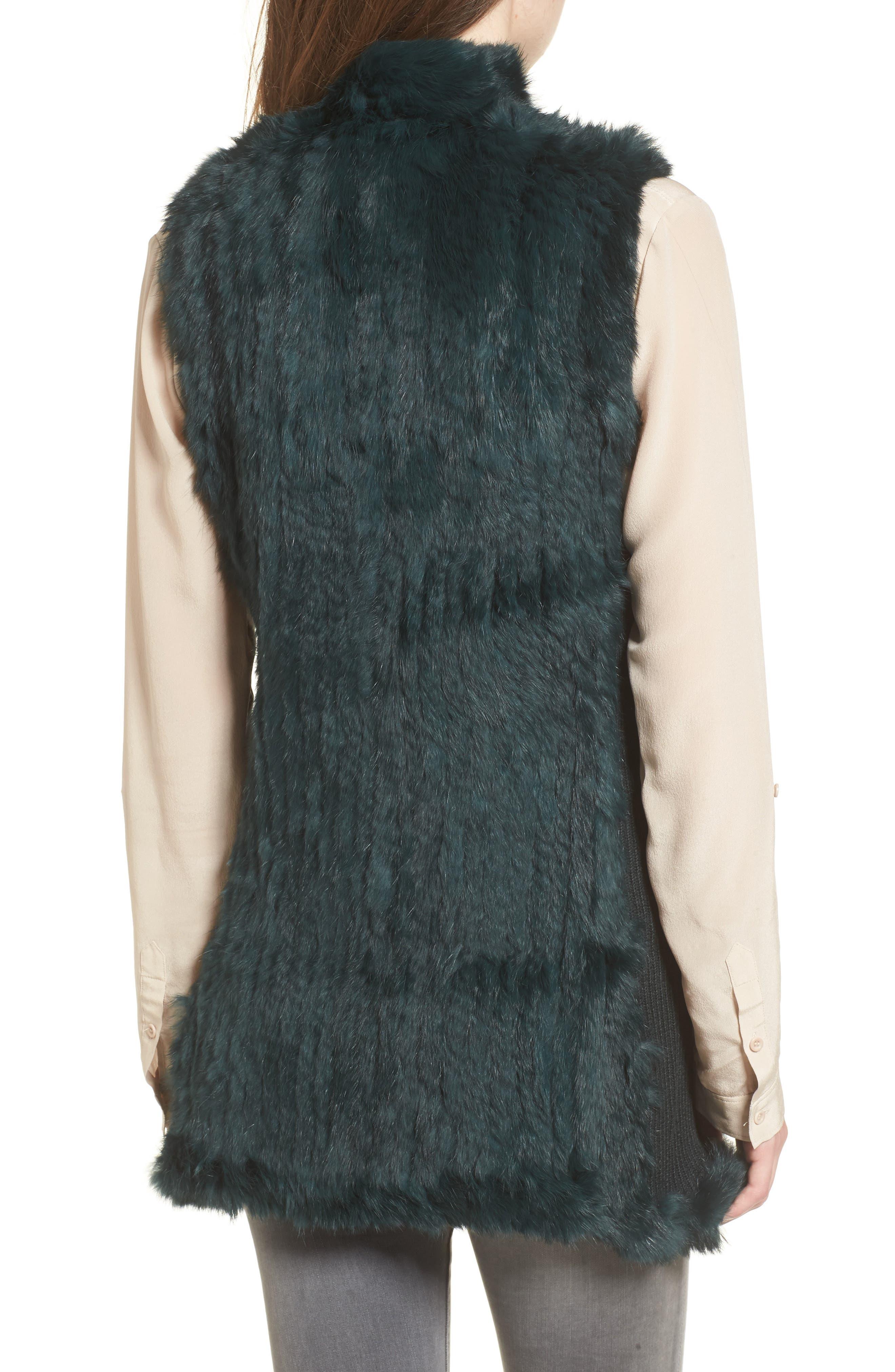 Genuine Rabbit Fur & Knit Vest,                             Alternate thumbnail 8, color,
