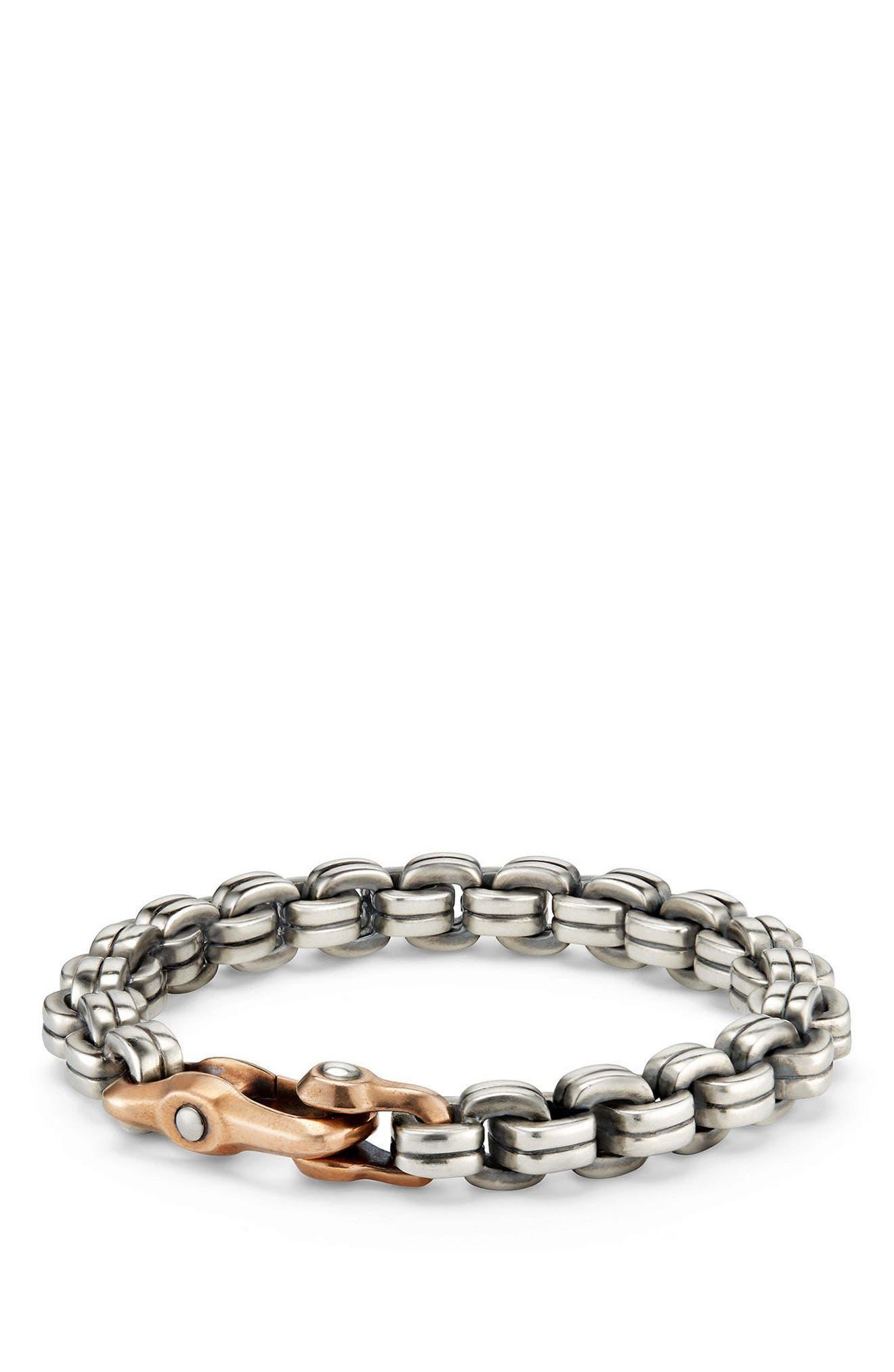 Anvil Chain Bracelet,                             Main thumbnail 1, color,                             SILVER/ BRONZE
