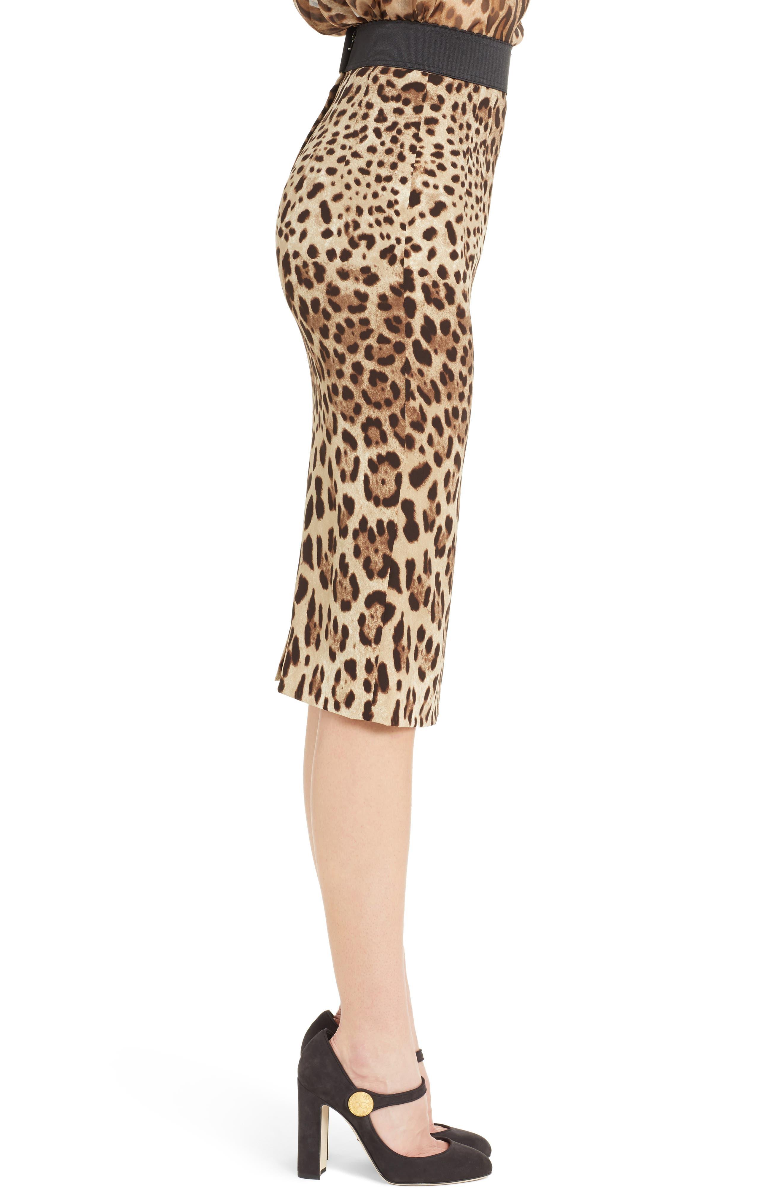 Leopard Print Stretch Silk Pencil Skirt,                             Alternate thumbnail 3, color,                             200
