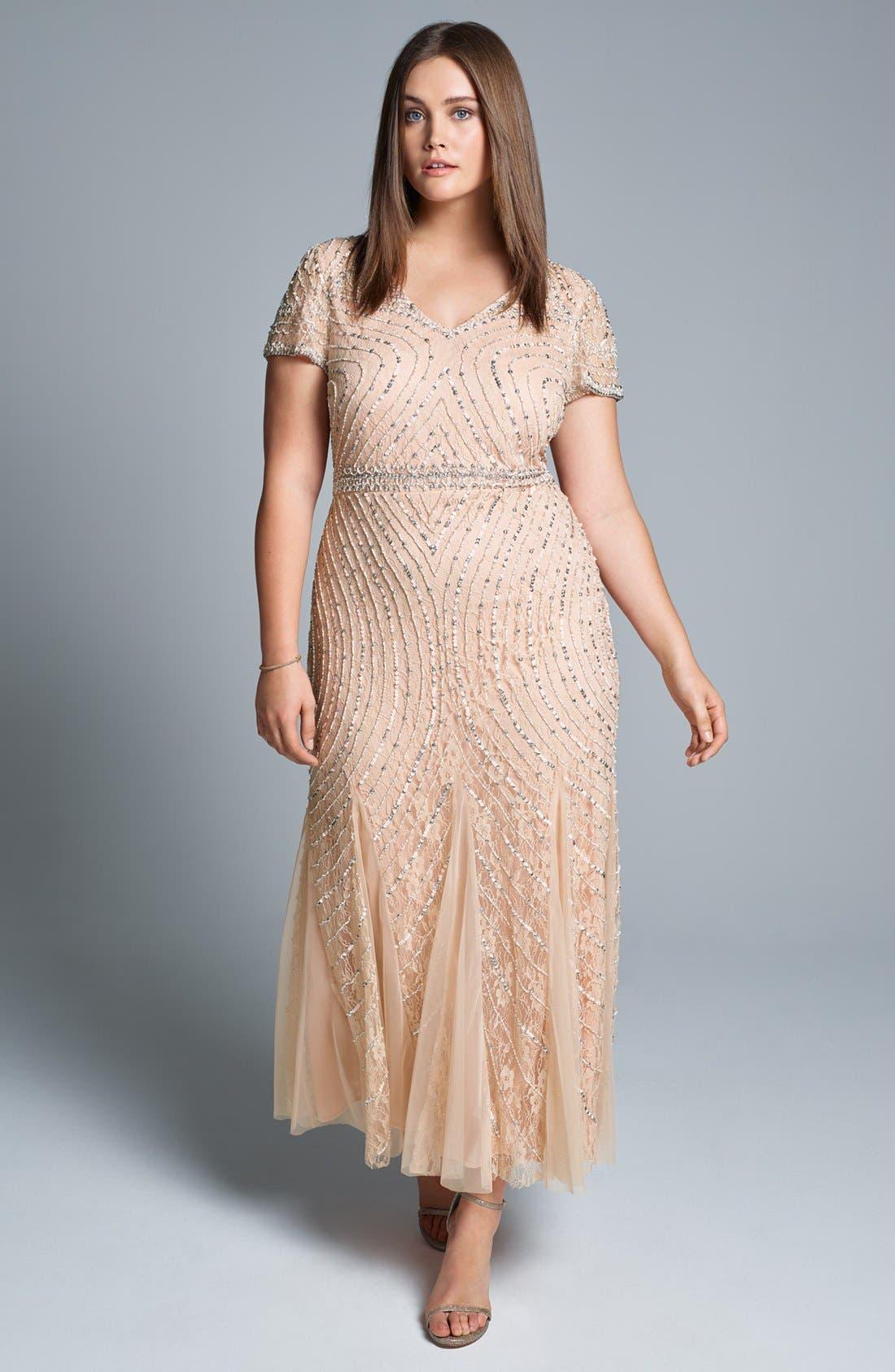 Sequin Lace A-Line Gown,                             Alternate thumbnail 6, color,                             269