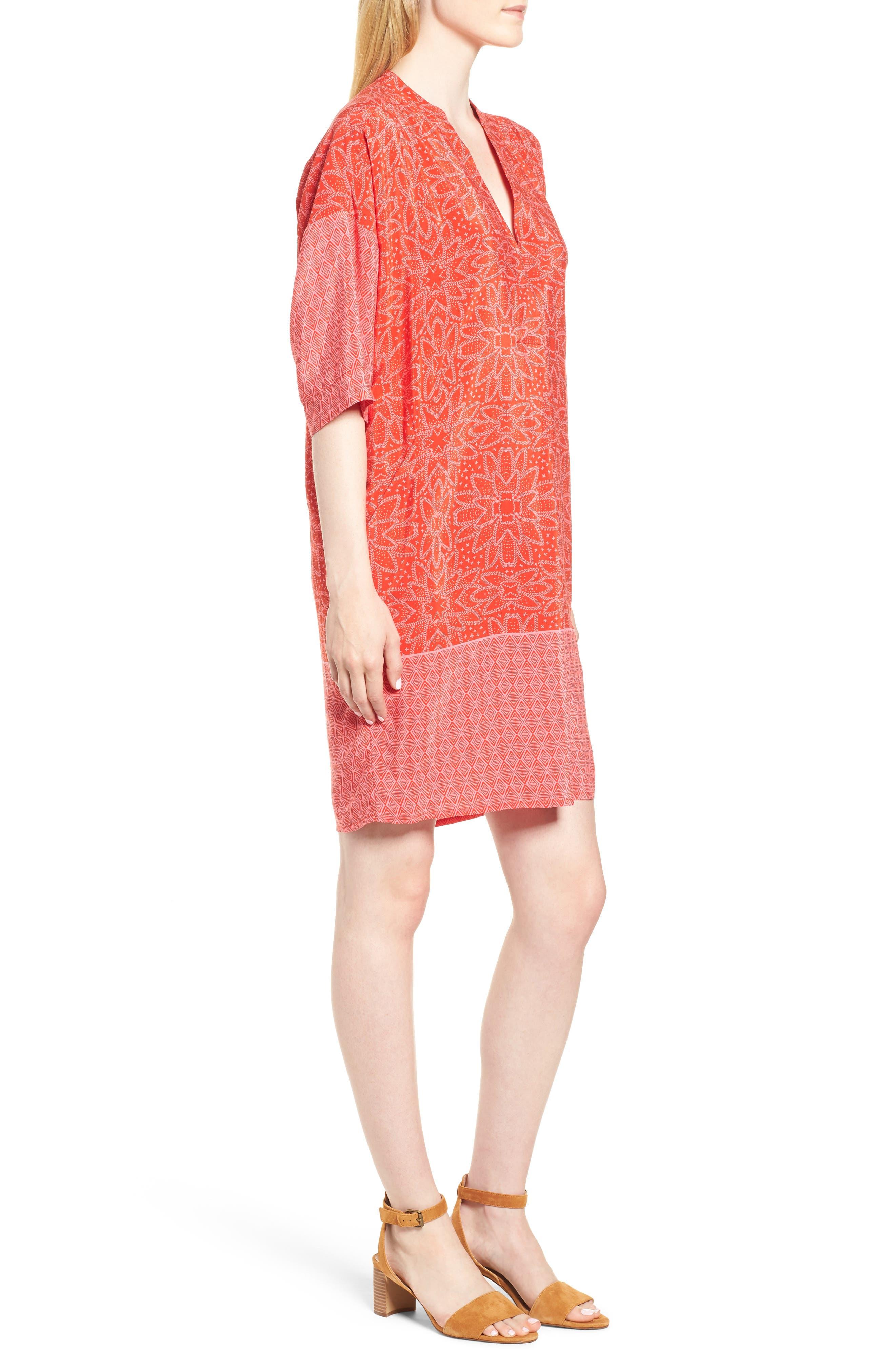 Luna Riya Print Dress,                             Alternate thumbnail 3, color,                             RED/ MULTI