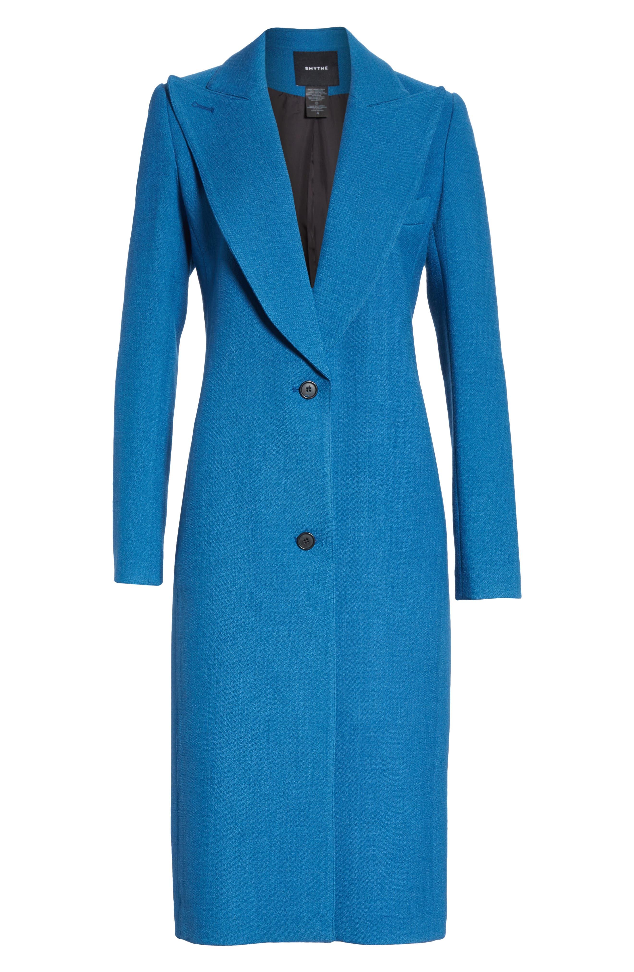 Peaked Lapel Wool Blend Coat,                             Alternate thumbnail 5, color,                             470