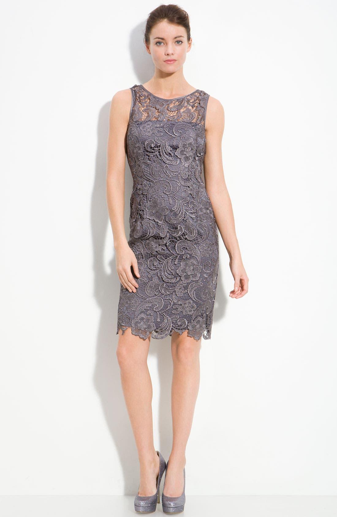 Illusion Bodice Lace Sheath Dress,                             Alternate thumbnail 23, color,