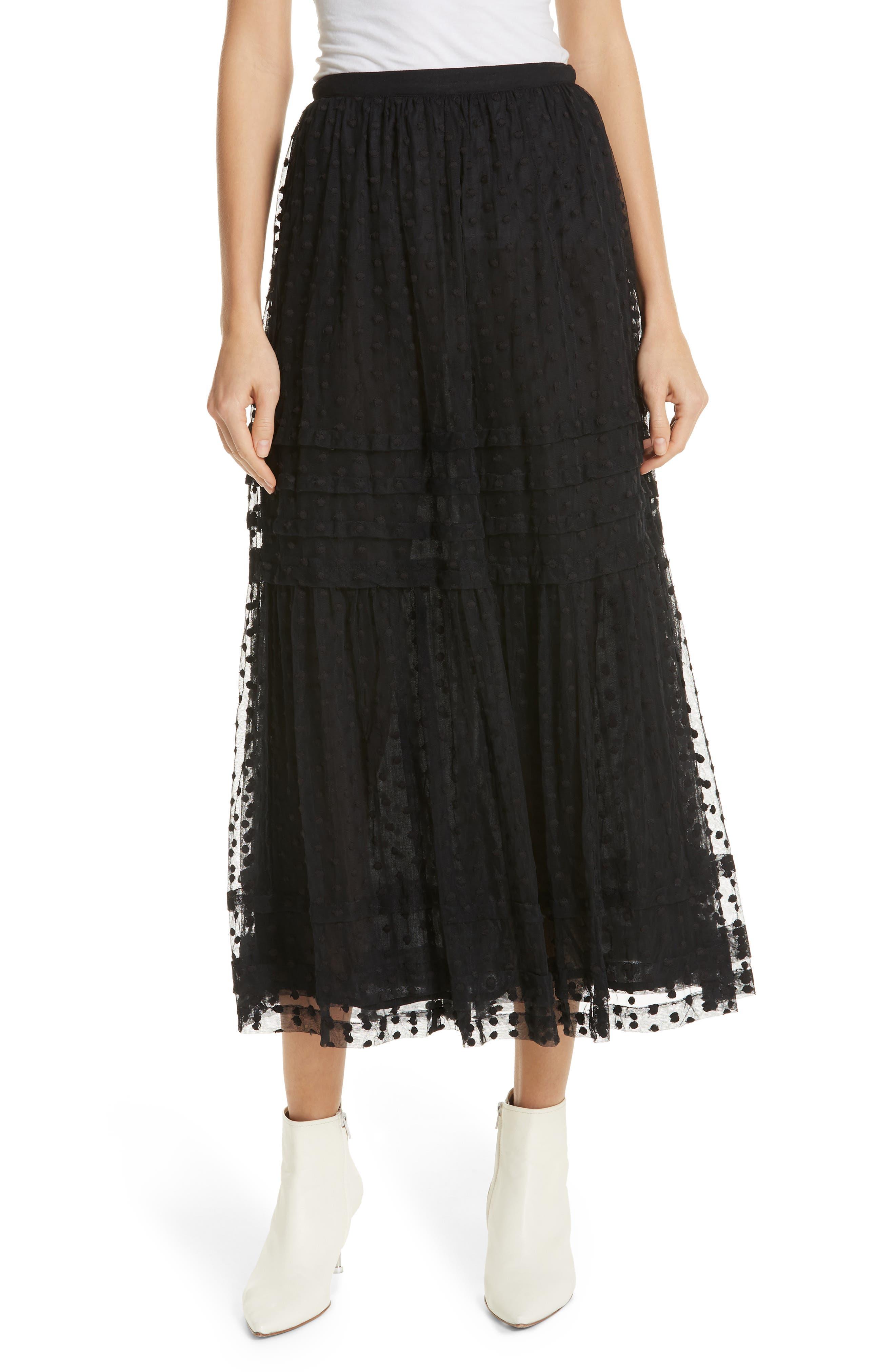 The Sway Polka Dot Mesh Skirt,                             Main thumbnail 1, color,                             BLACK