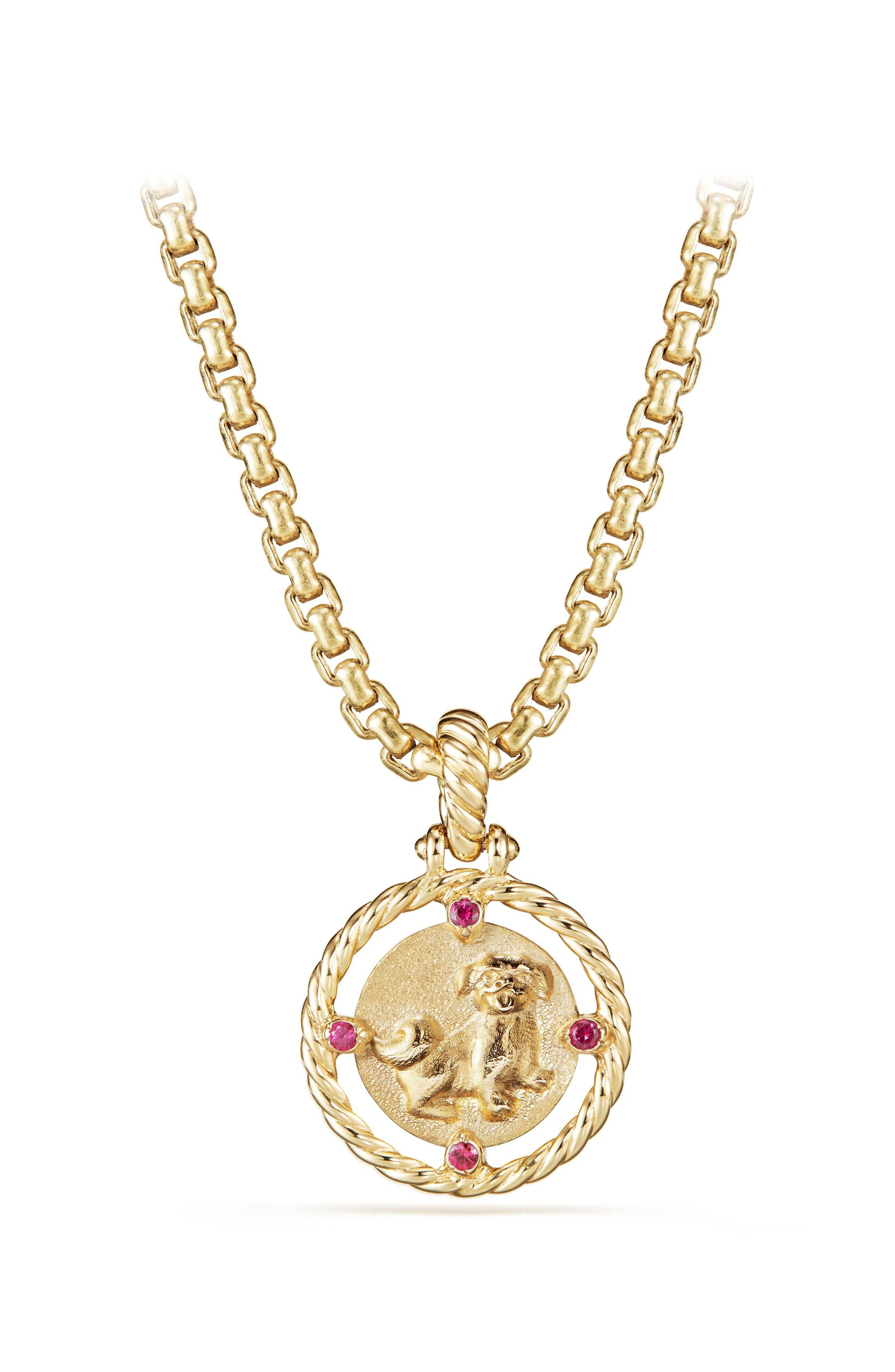 Lunar New Year Charm in 18K Gold with Rubies,                             Main thumbnail 1, color,                             YELLOW GOLD/ RUBY
