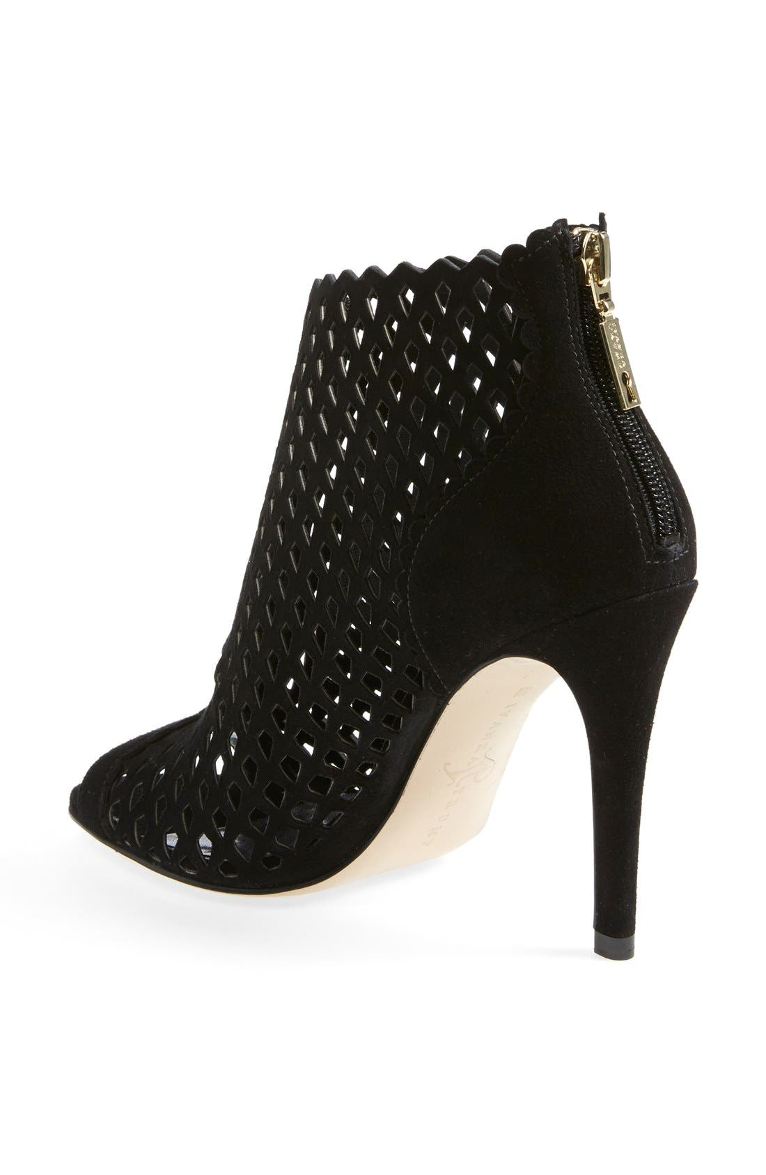 'Didia' Cutout Cage Open Toe Suede Bootie,                             Alternate thumbnail 5, color,                             001