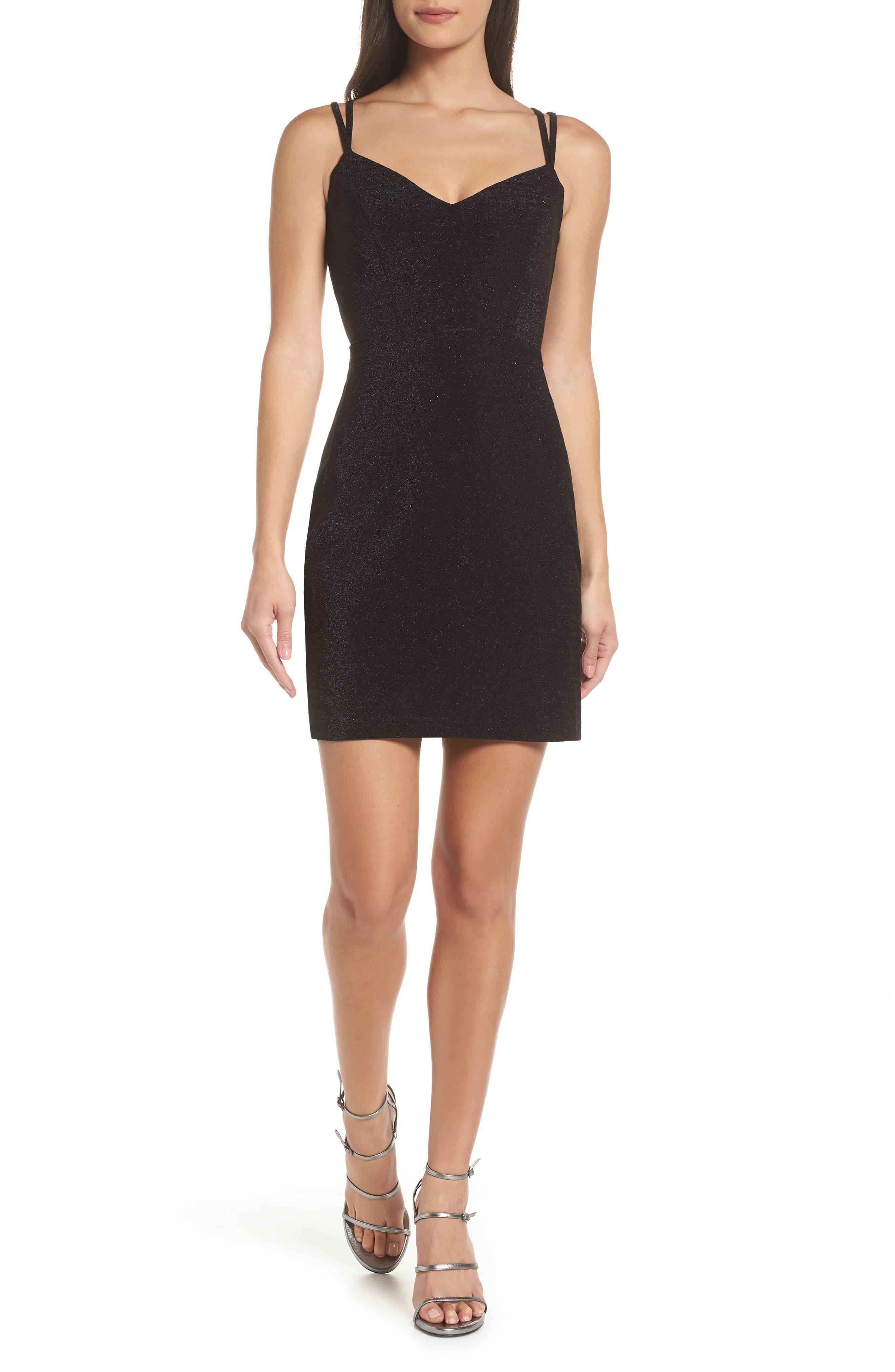 Morgan & Co. Strappy Glitter Knit Dress, Black