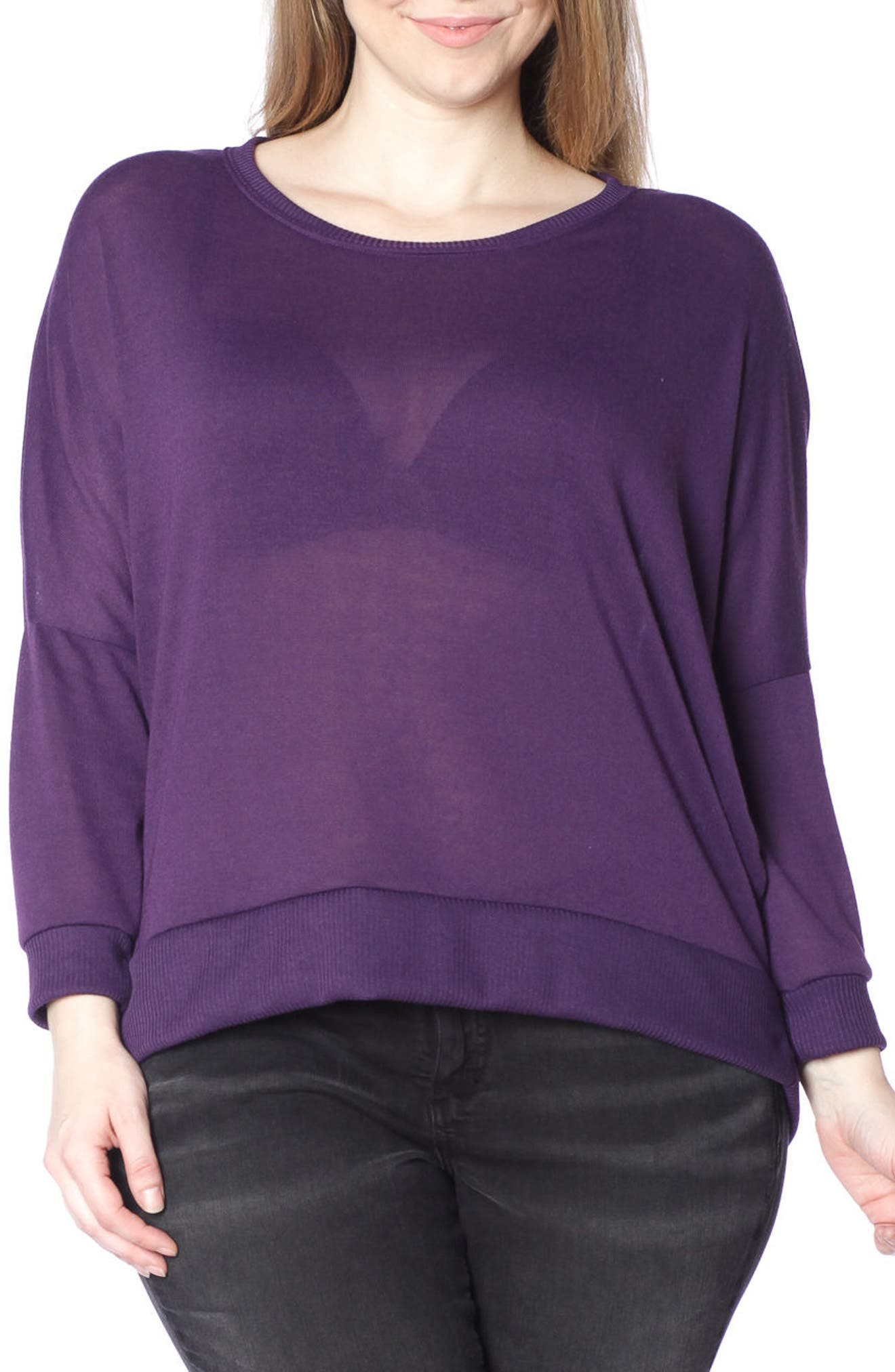 Dolman Sleeve Ribbed Pullover,                             Main thumbnail 1, color,                             PLUM