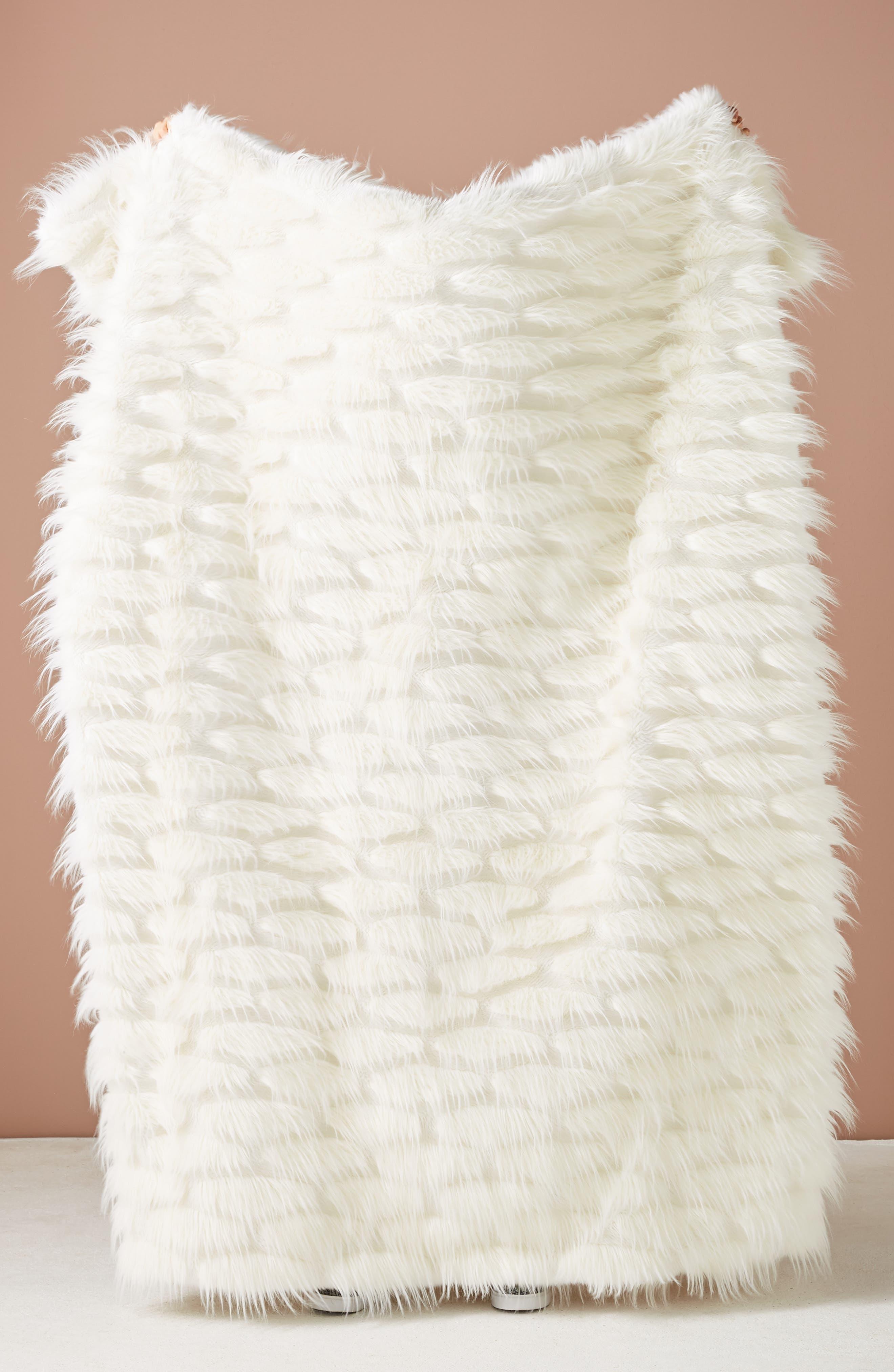 ANTHROPOLOGIE,                             Faux Fur Throw Blanket,                             Main thumbnail 1, color,                             WHITE