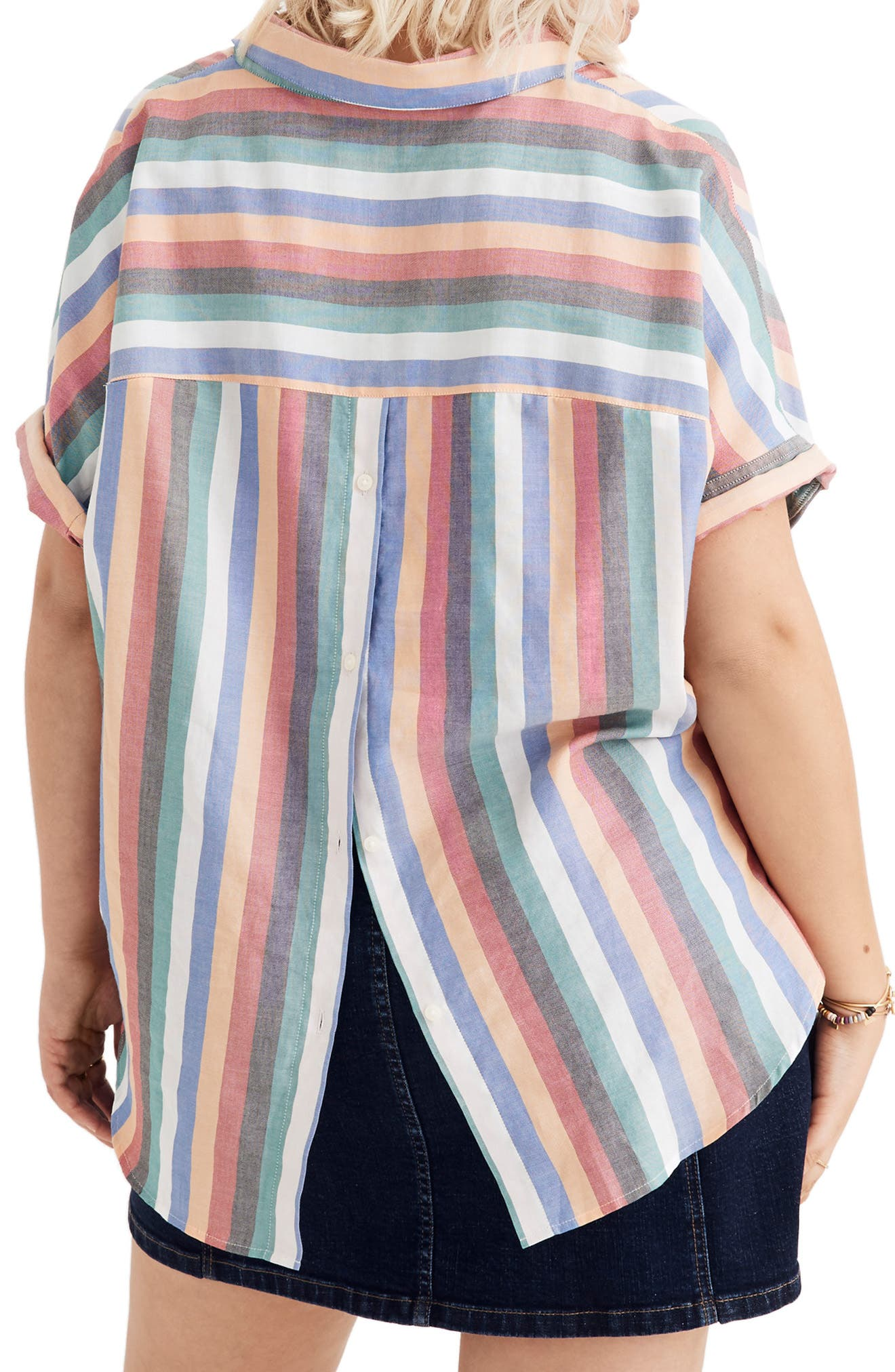 Courier Button Back Shirt,                             Alternate thumbnail 6, color,                             MULTI STRIPE