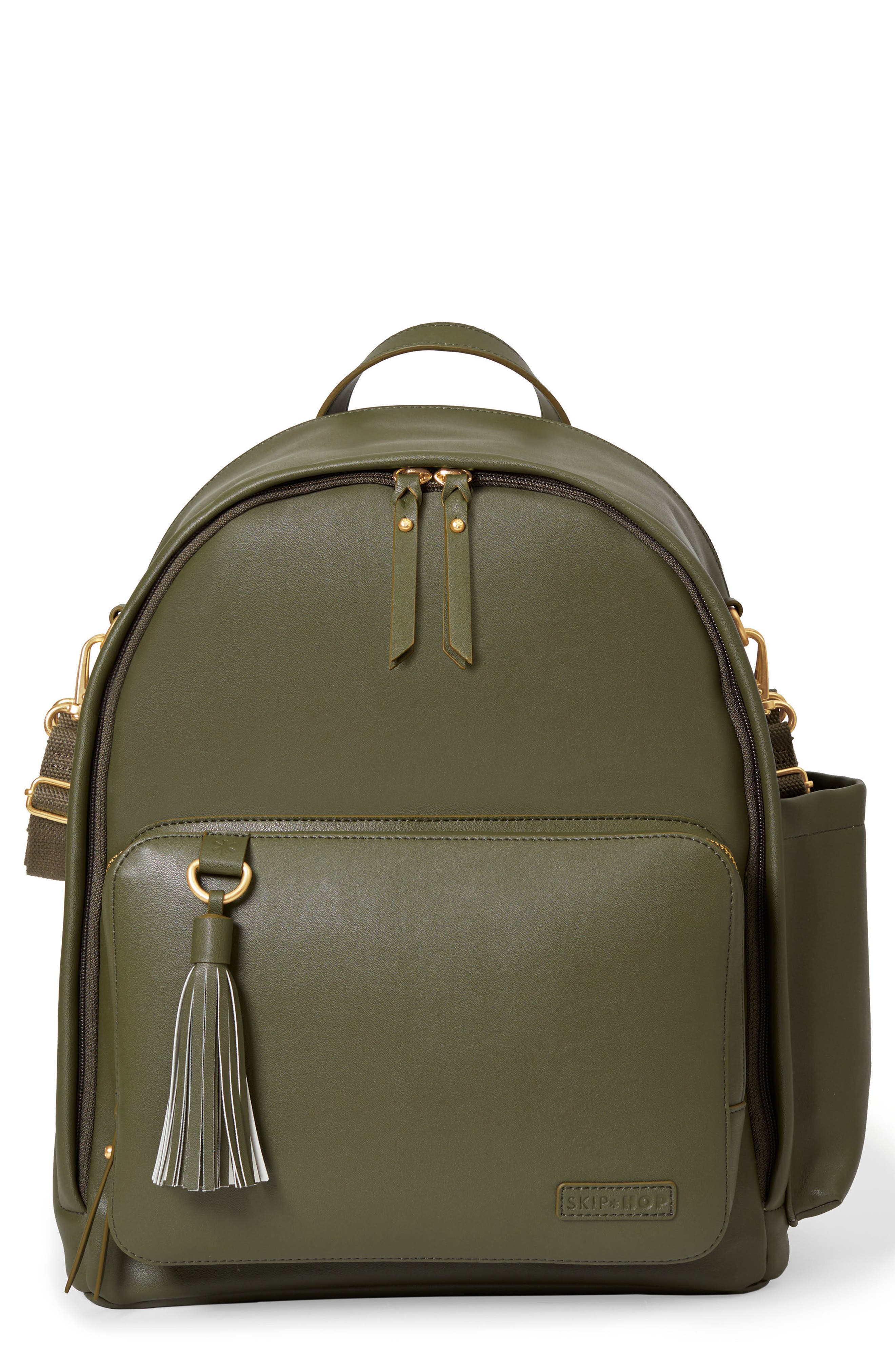 SKIP HOP,                             Greenwich Simply Chic Diaper Backpack,                             Main thumbnail 1, color,                             OLIVE